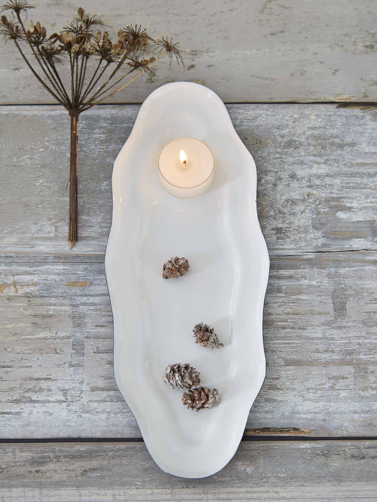 Nordic House White Enamelled Tray - Small