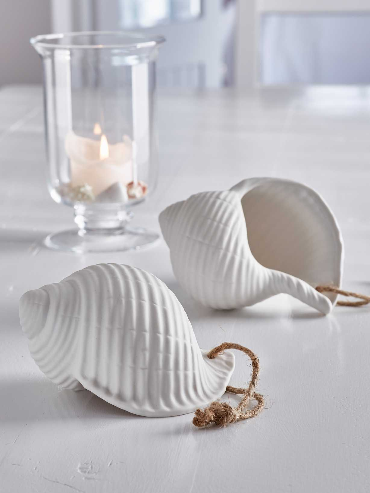 Nordic House Large Sea Shell Decoration with String