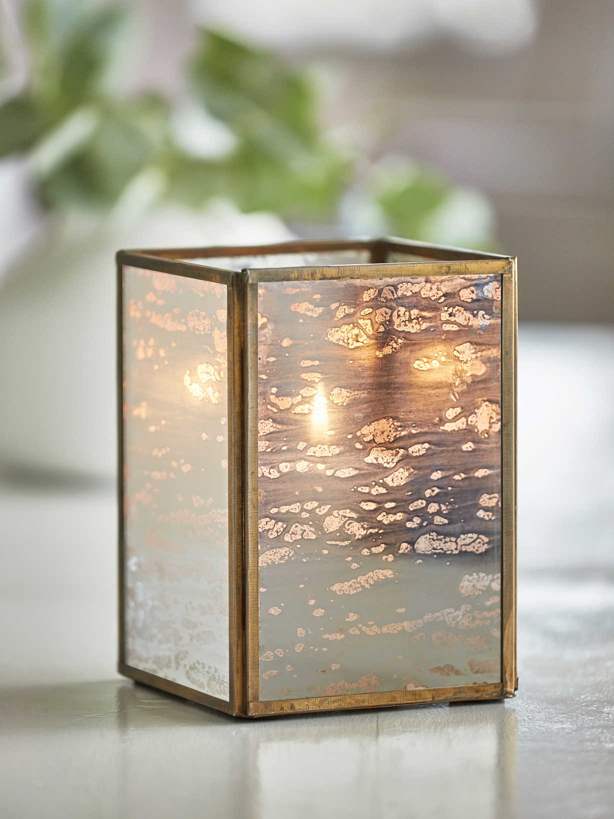 Nordic House Vintage Brass Box Lantern