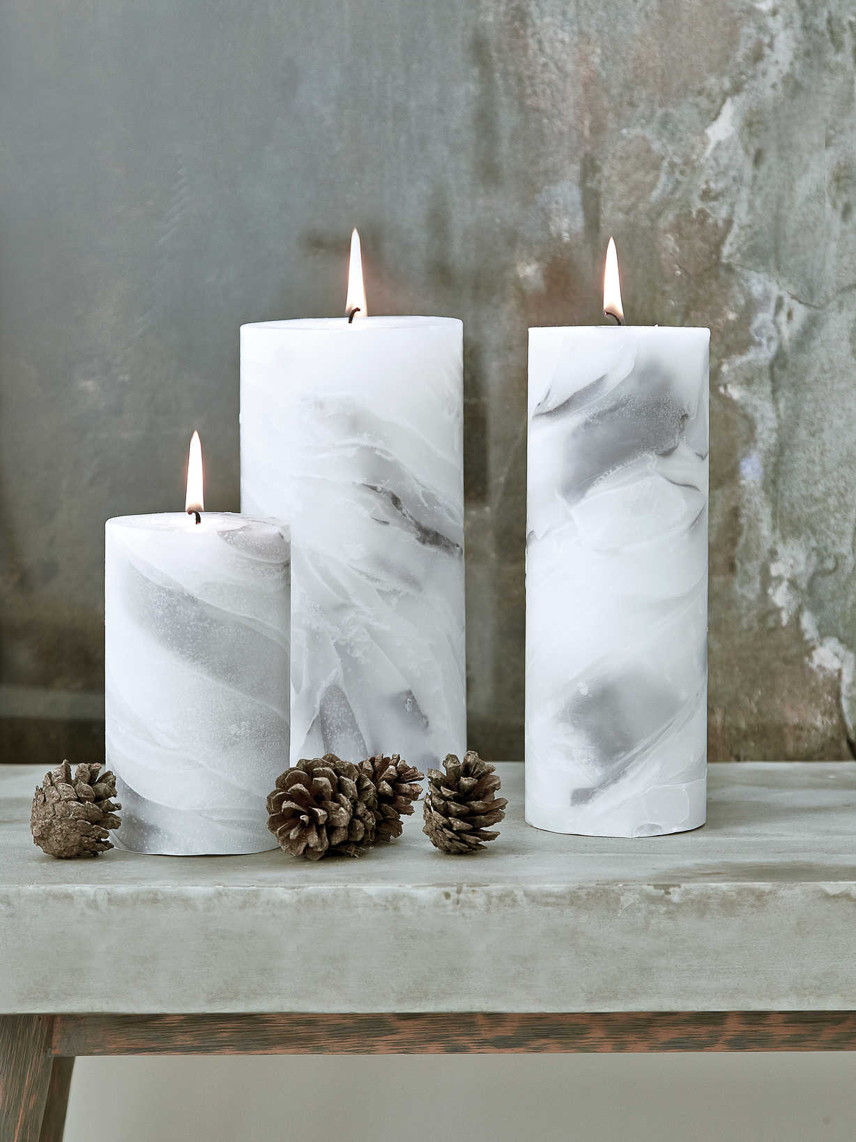 Nordic House Marbled Pillar Candles