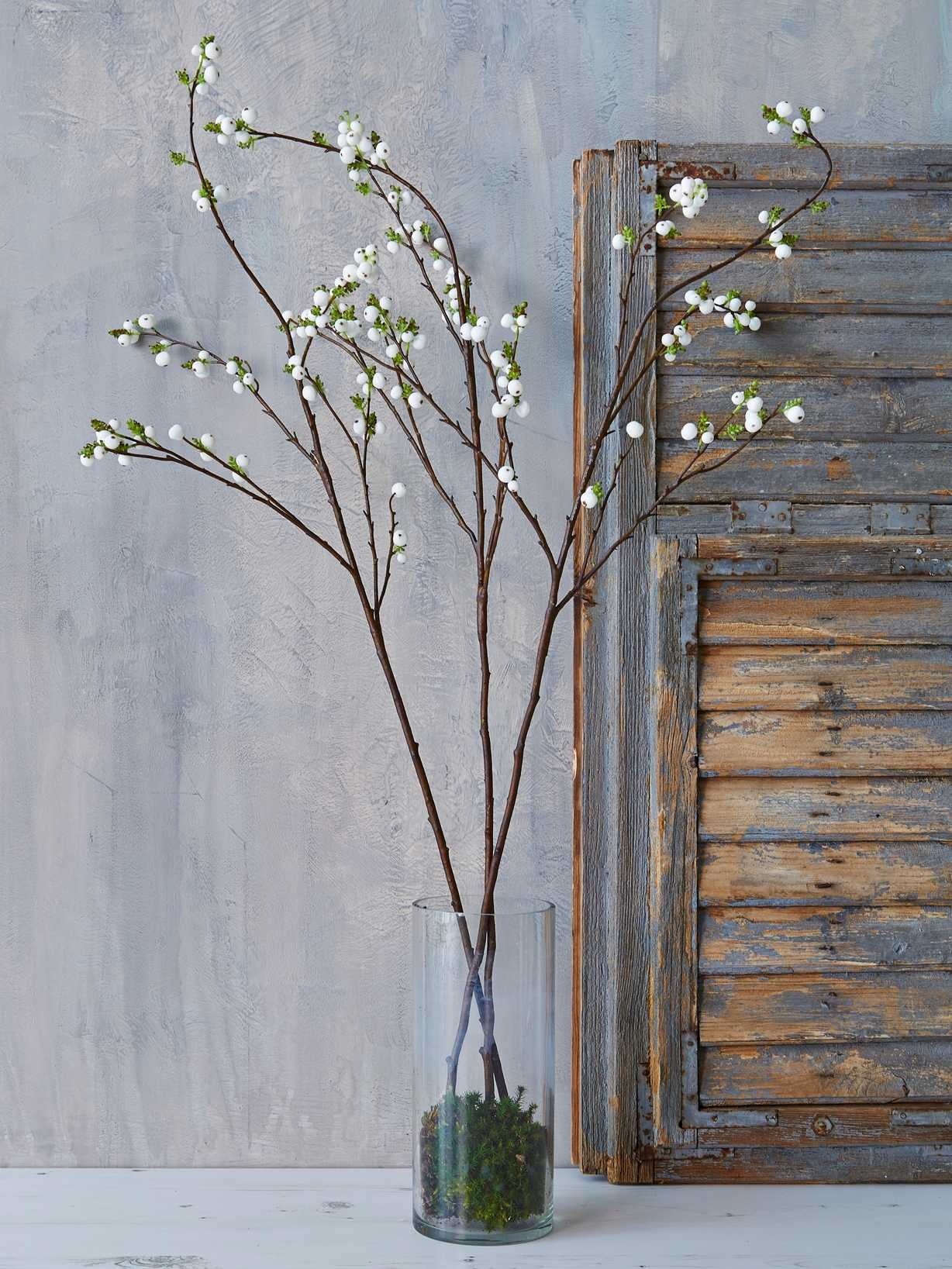 Nordic House Tall Faux Snowberry Branch