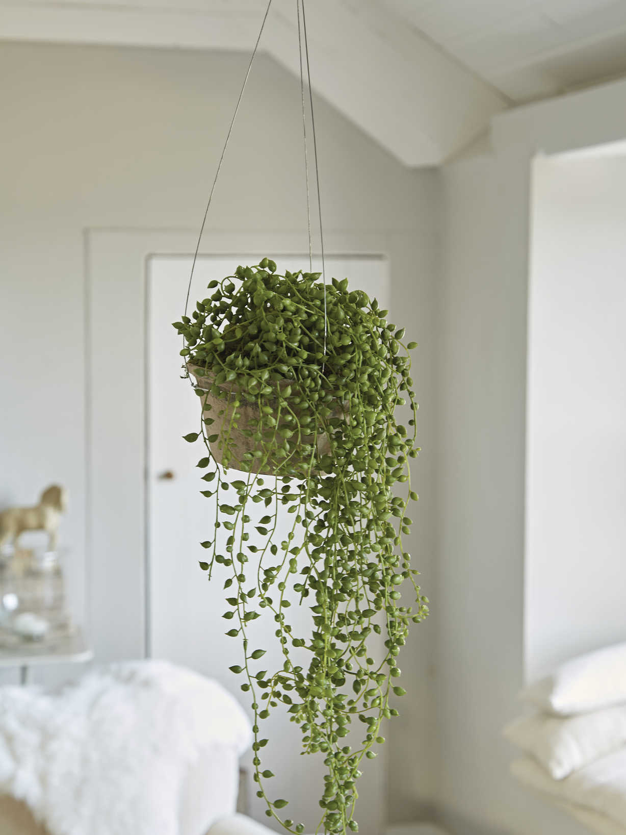 Nordic House Faux String of Pearls & Pot