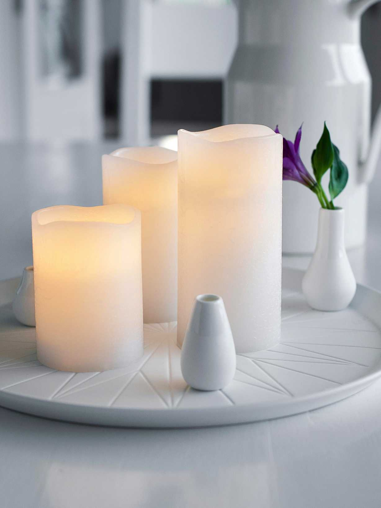 Nordic House White Wax LED Candle
