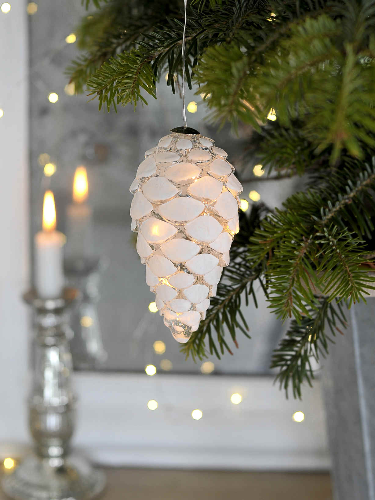 Nordic House Glass LED Pine Cone - L
