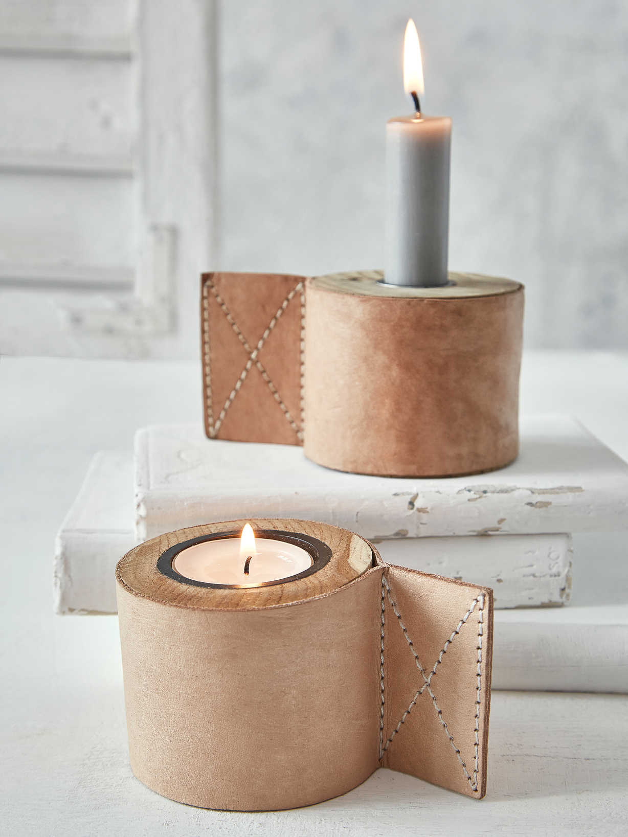 Nordic House Teak and Leather Candle Holder