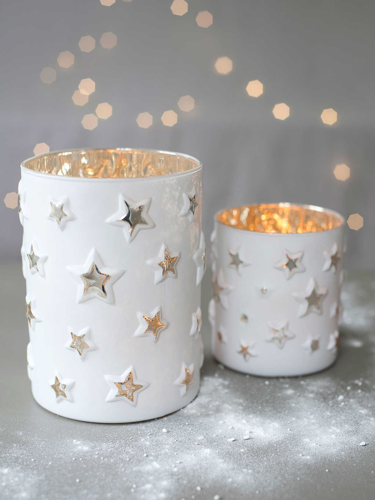 Nordic House White Star Tealight Hurricanes