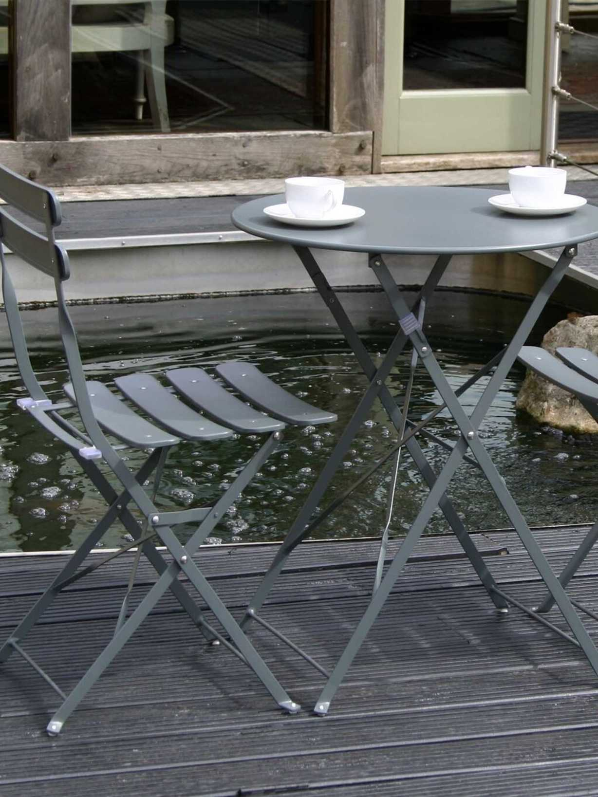 Nordic House Metal Bistro Set - Dark Grey