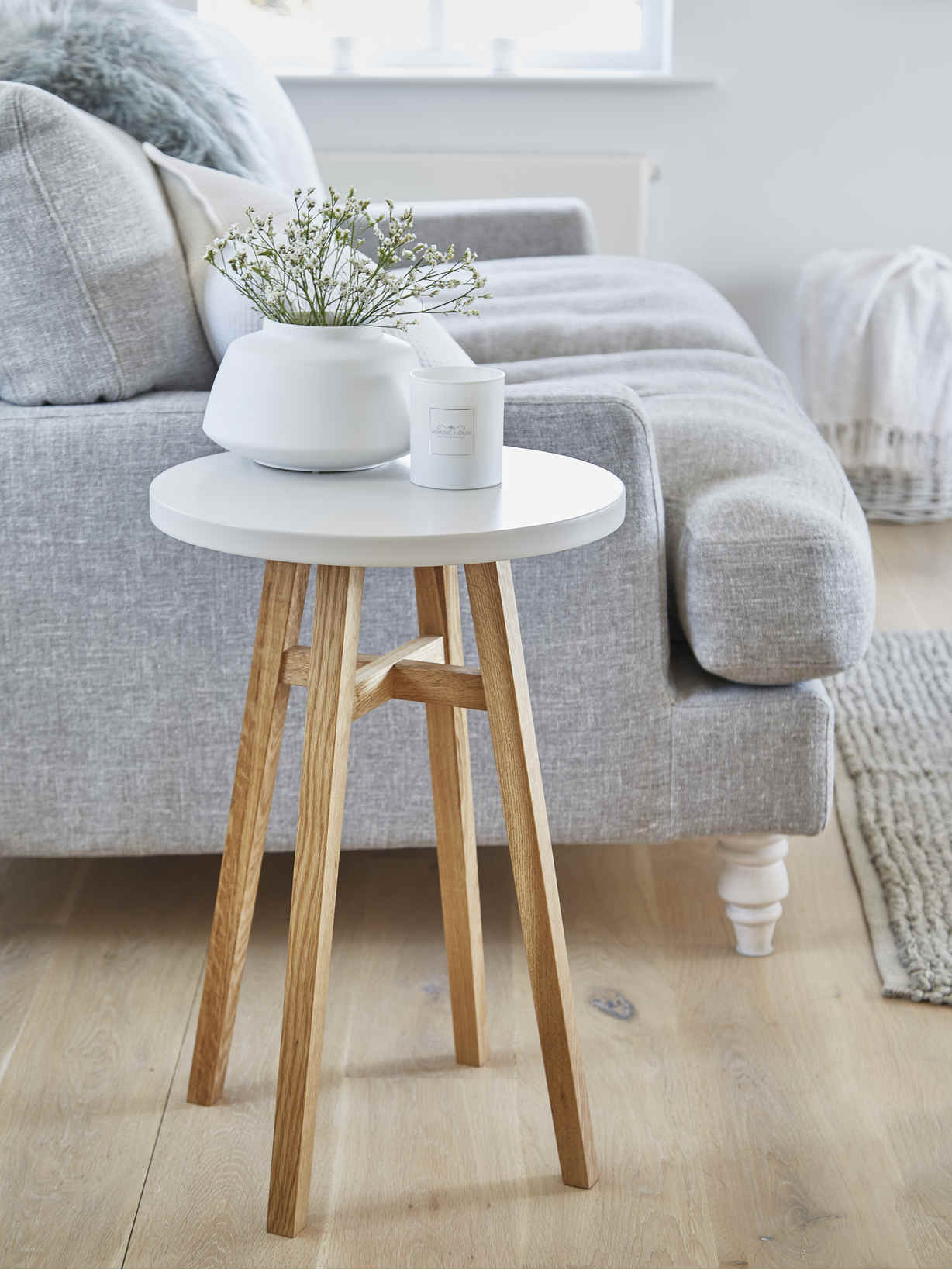 Nordic House Svea Side Table - Chalk White