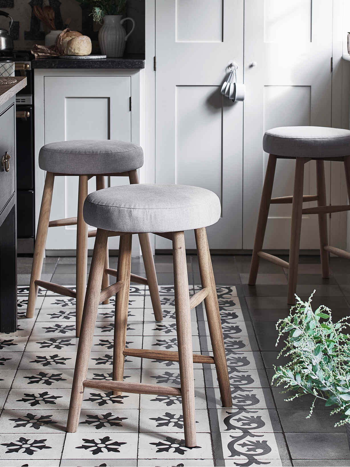 Nordic House Upholstered Kitchen Stool