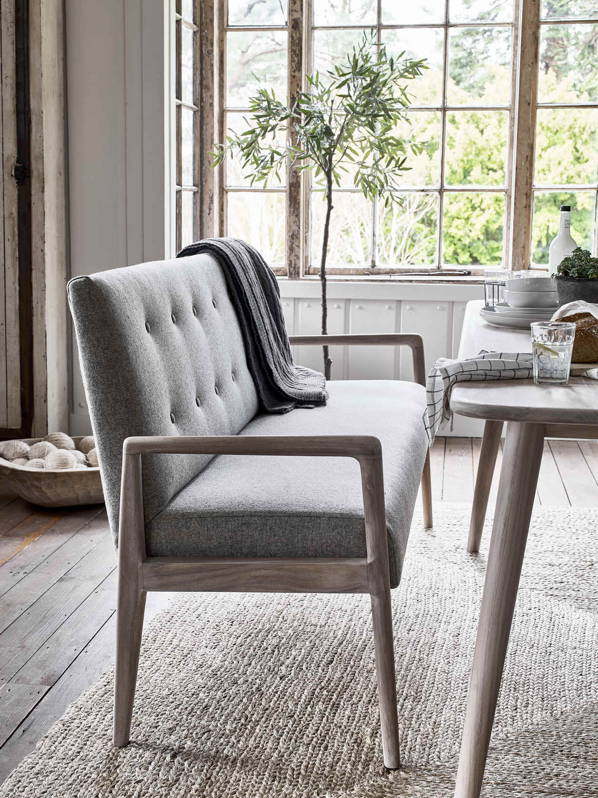 Nordic House Sundby Button Back Bench - Earth Collection