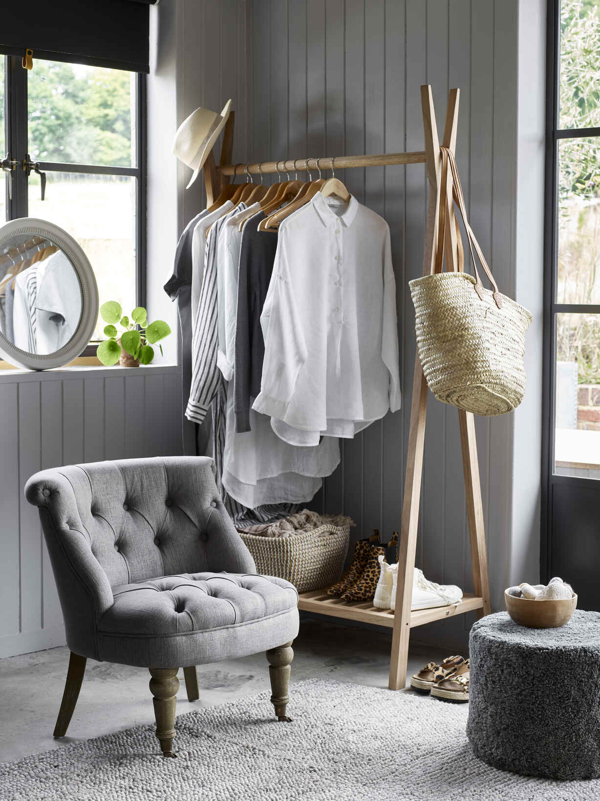 Nordic House Axel Wooden Clothes Rail