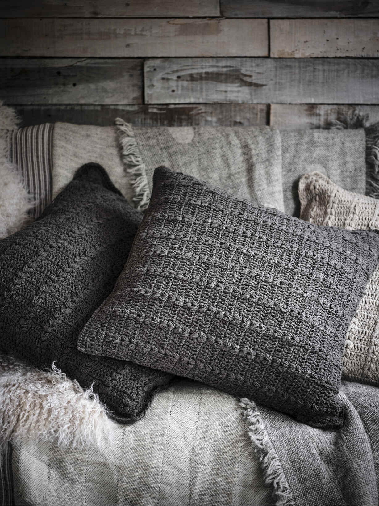 Nordic House Crochet Cushion - Graphite