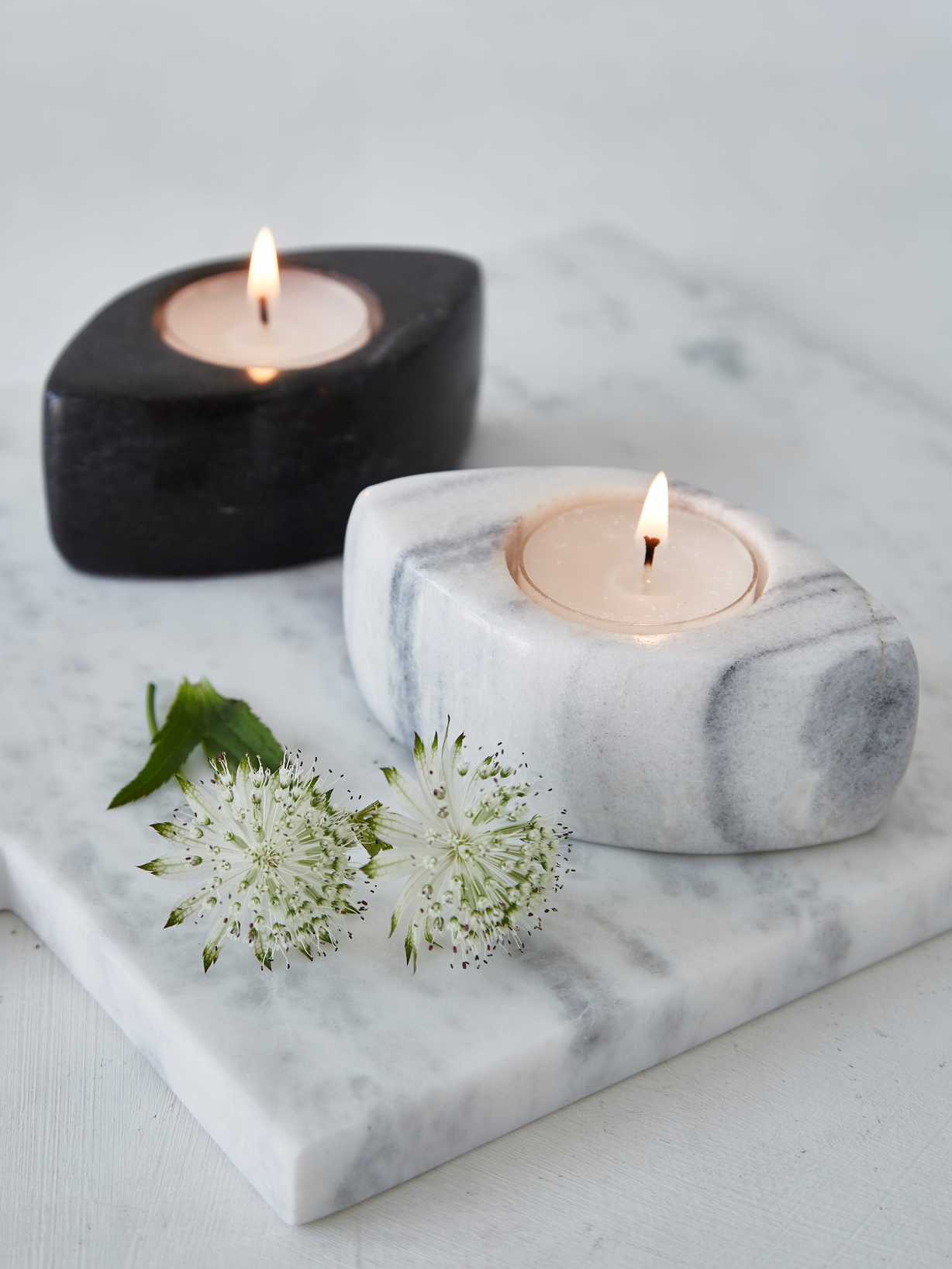 Nordic House Marble Tealight Holders
