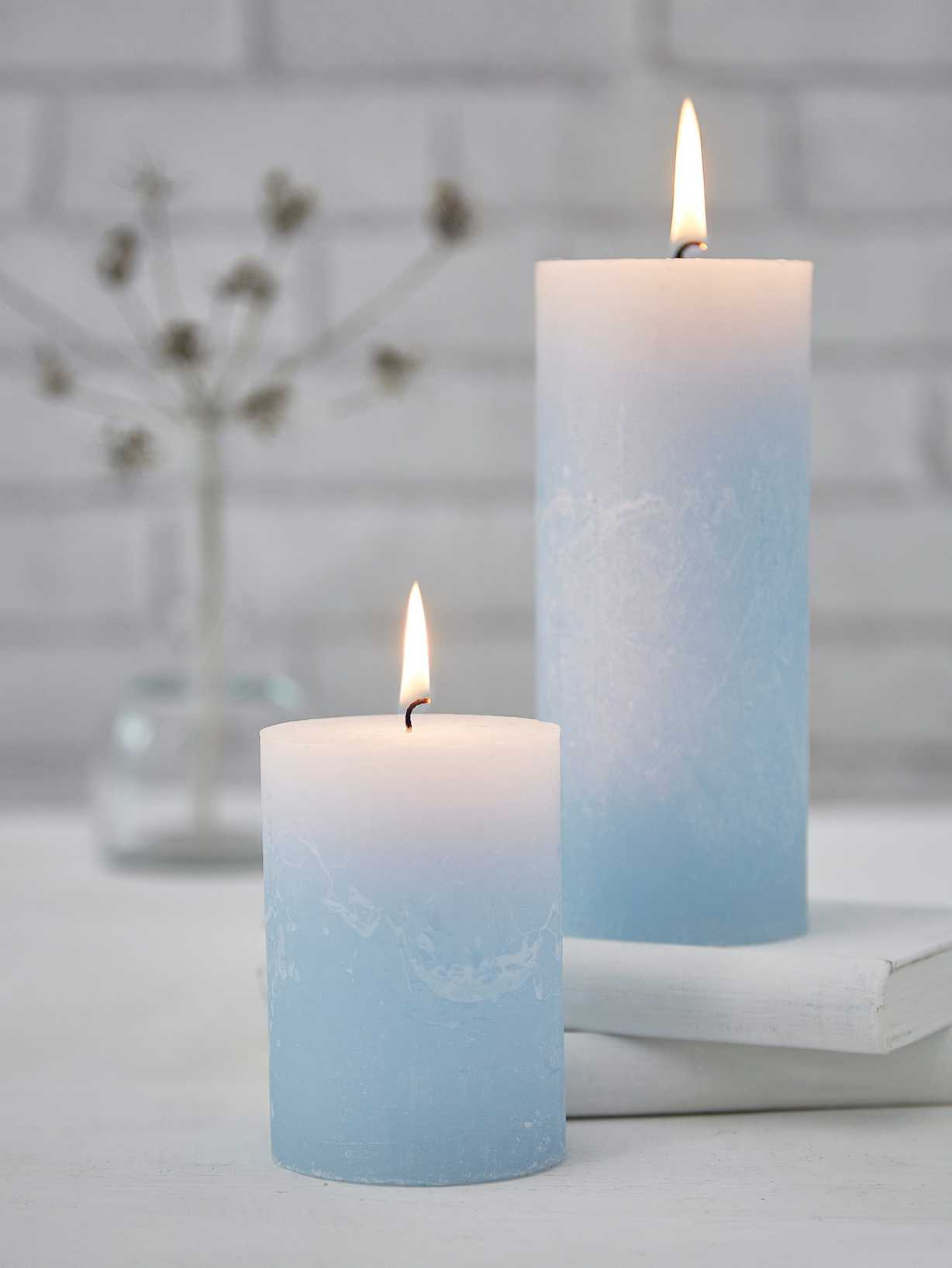 Nordic House Rustic Pillar Candles - Pale Blue