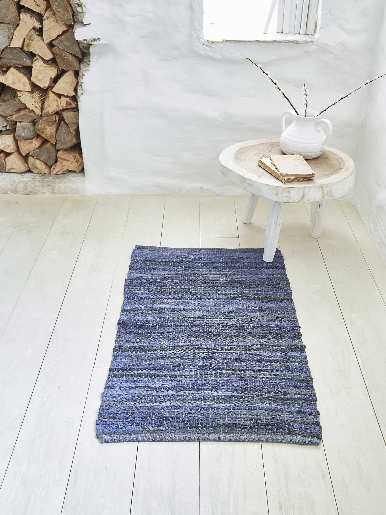 Nordic House Cotton and Leather Rug - 60x90cm