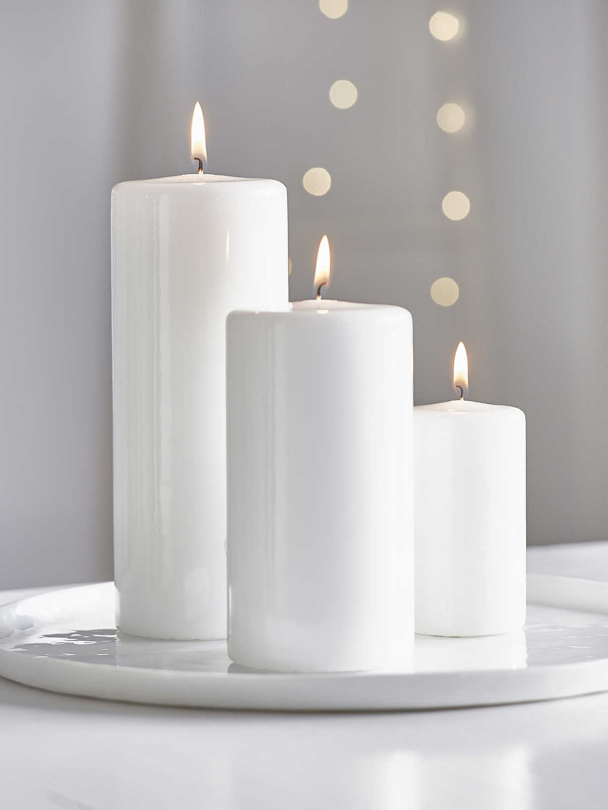 Nordic House Glossy Pillar Candles