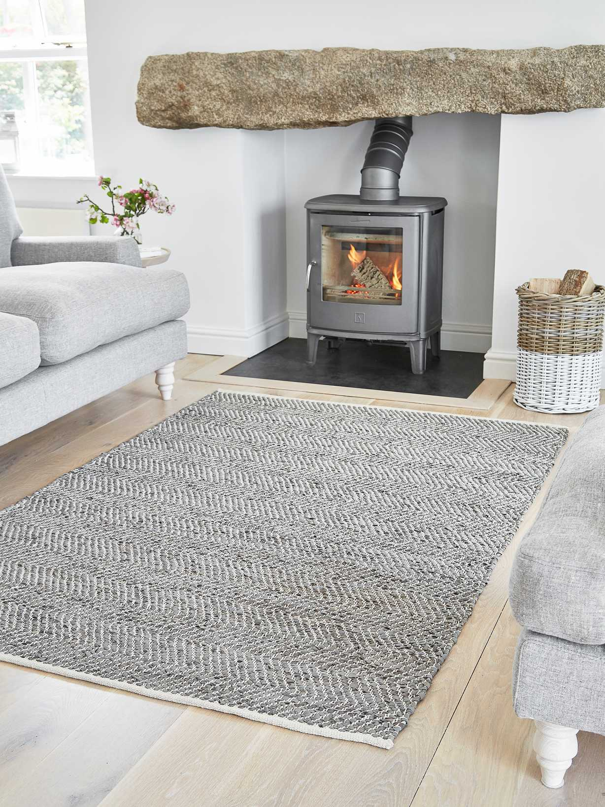 Nordic House Chevron Leather and Cotton Rug