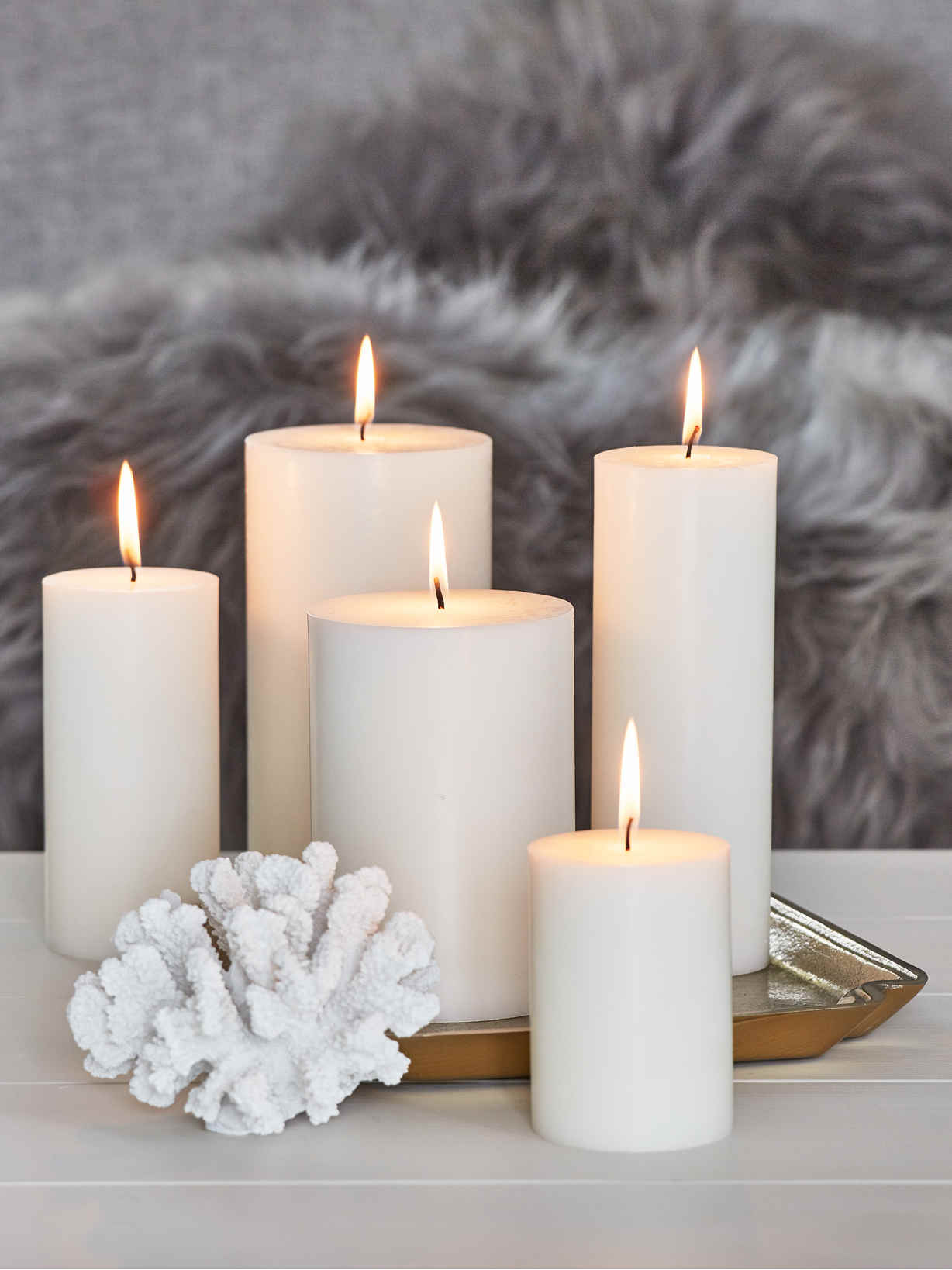 Nordic House Pure Stearin Pillar Candles