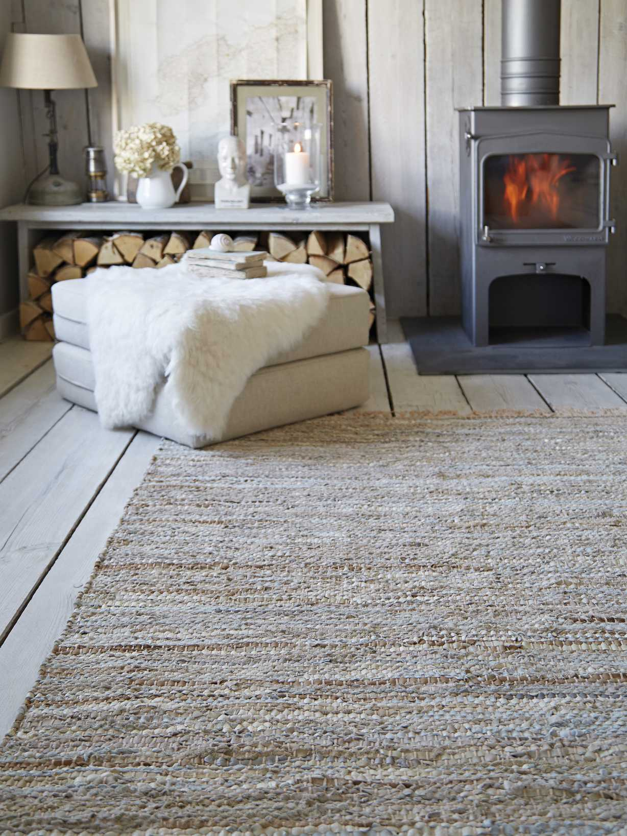 Nordic House Fringed Cotton and Leather Rug