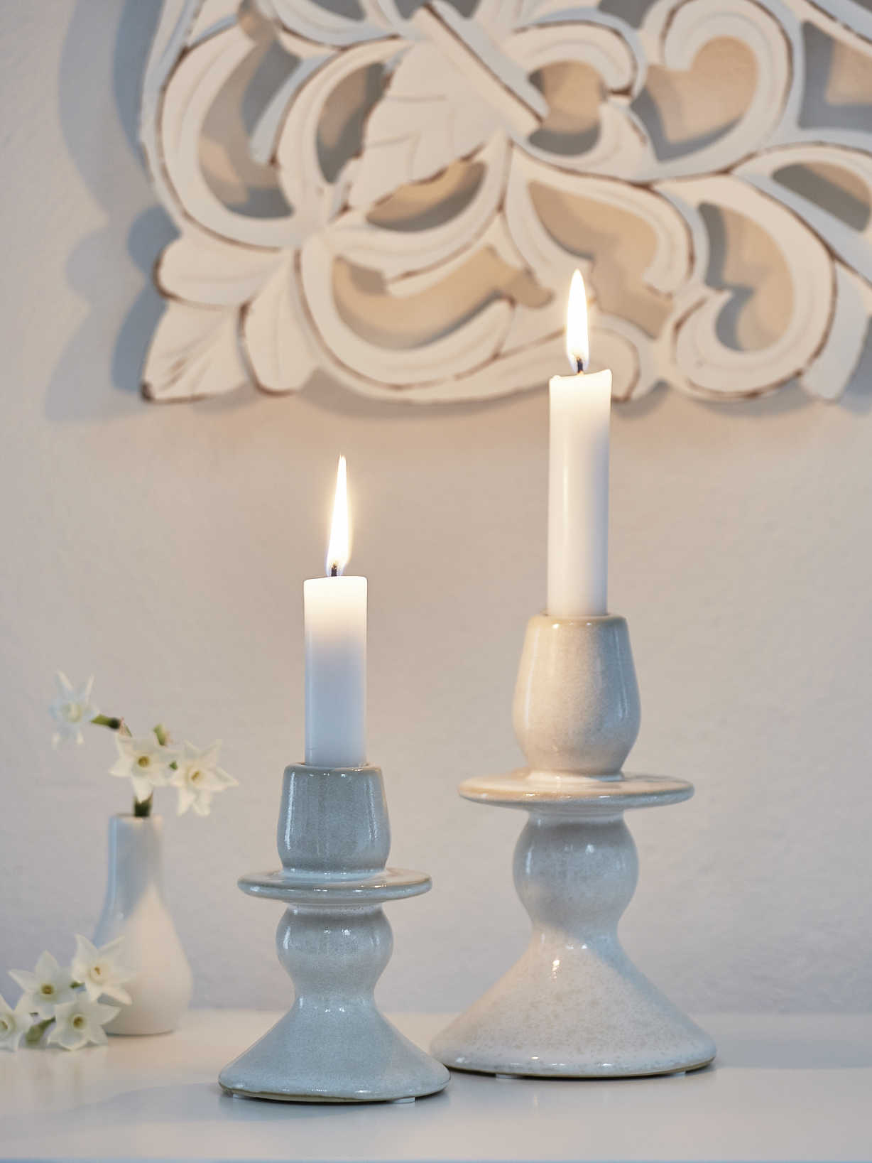 Nordic House Vintage Ceramic Candle Holder Set