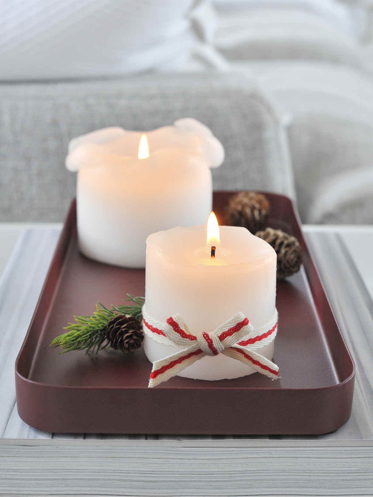 Nordic House Deep Red Metal Candle Tray