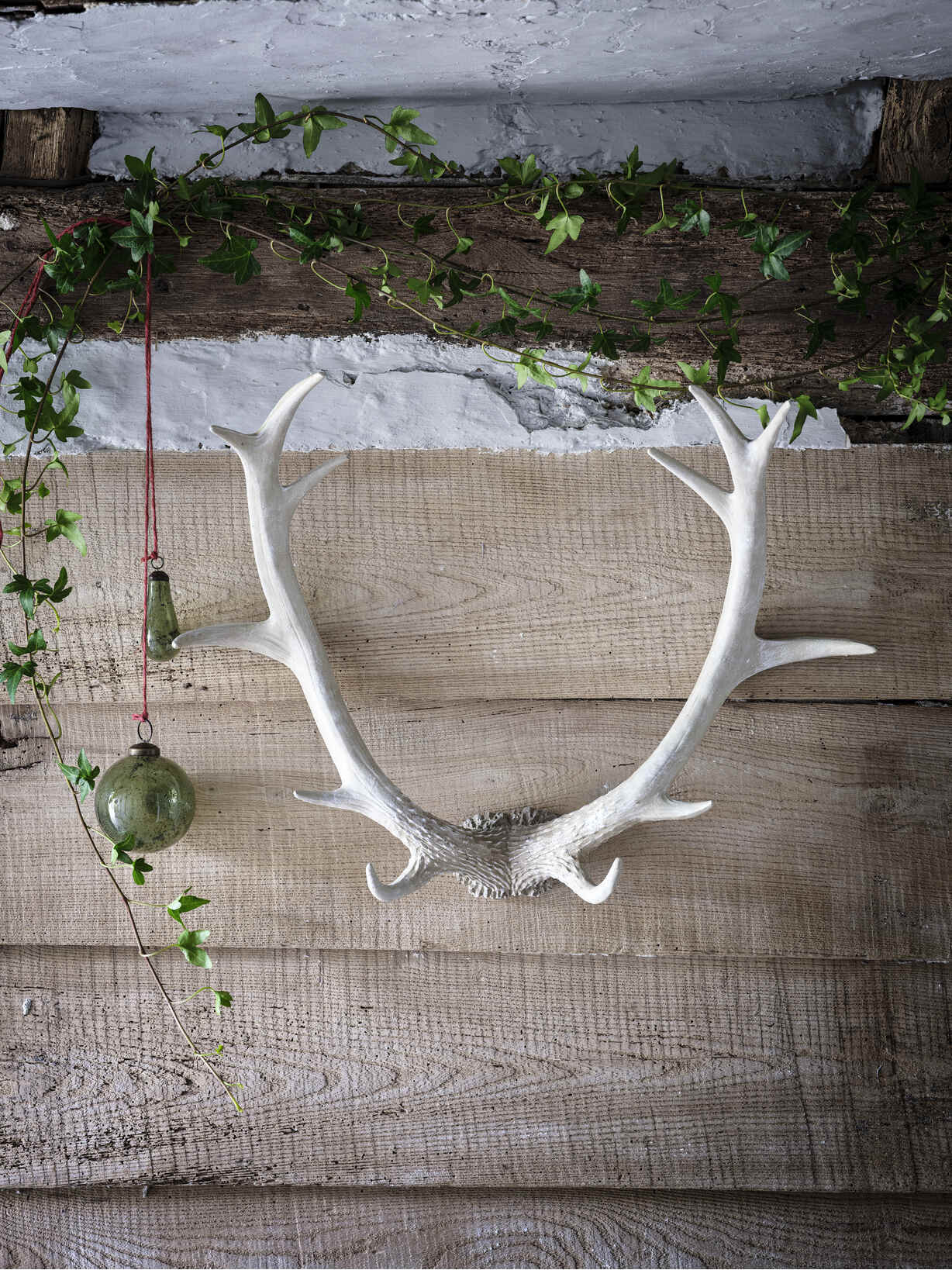 Nordic House Whitewashed Wall Antlers