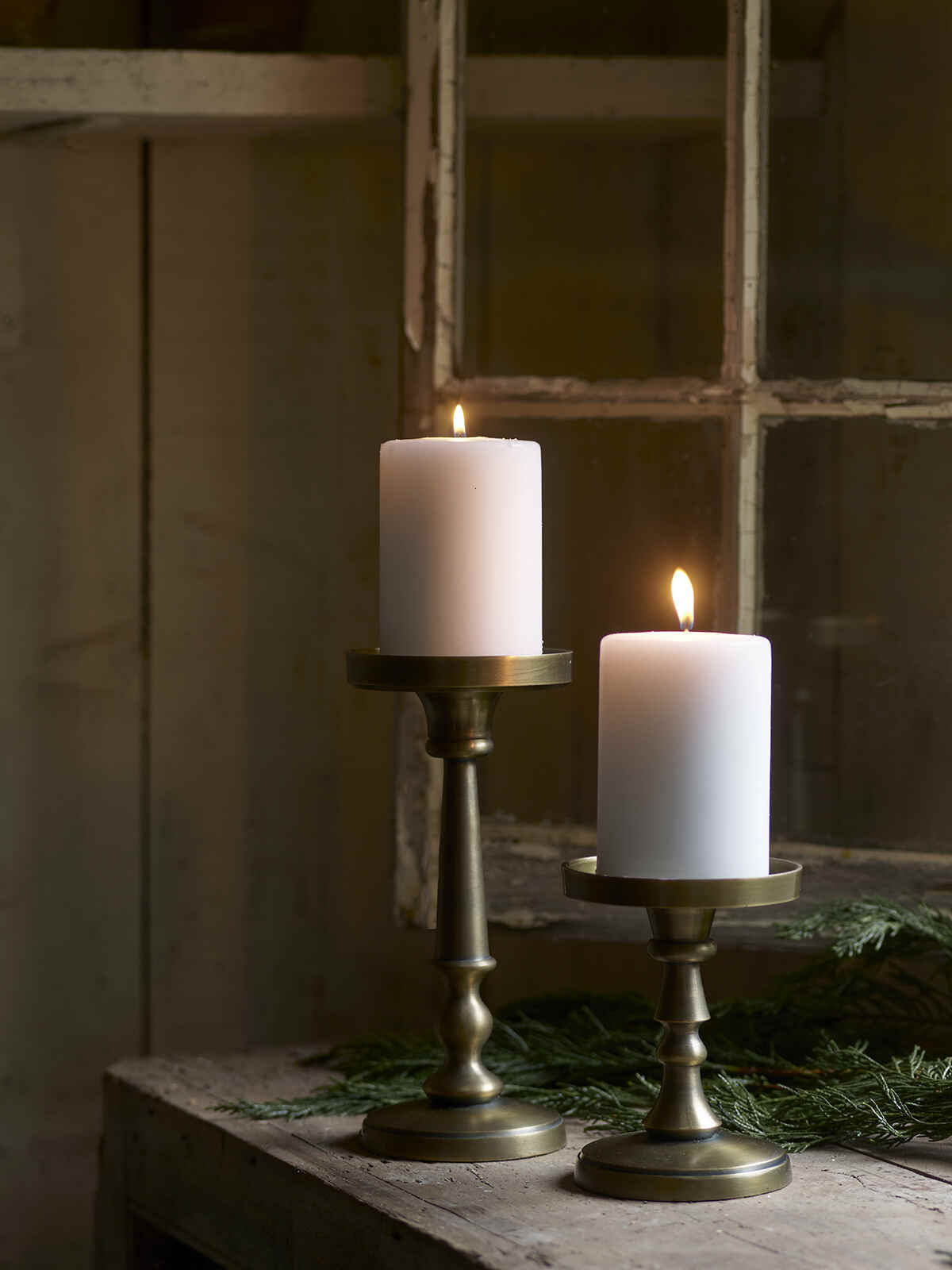 Nordic House Antique Brass Candle Holders