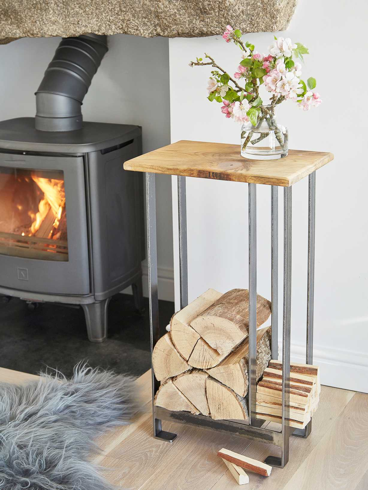 Nordic House Hand-Crafted Log and Kindling Table