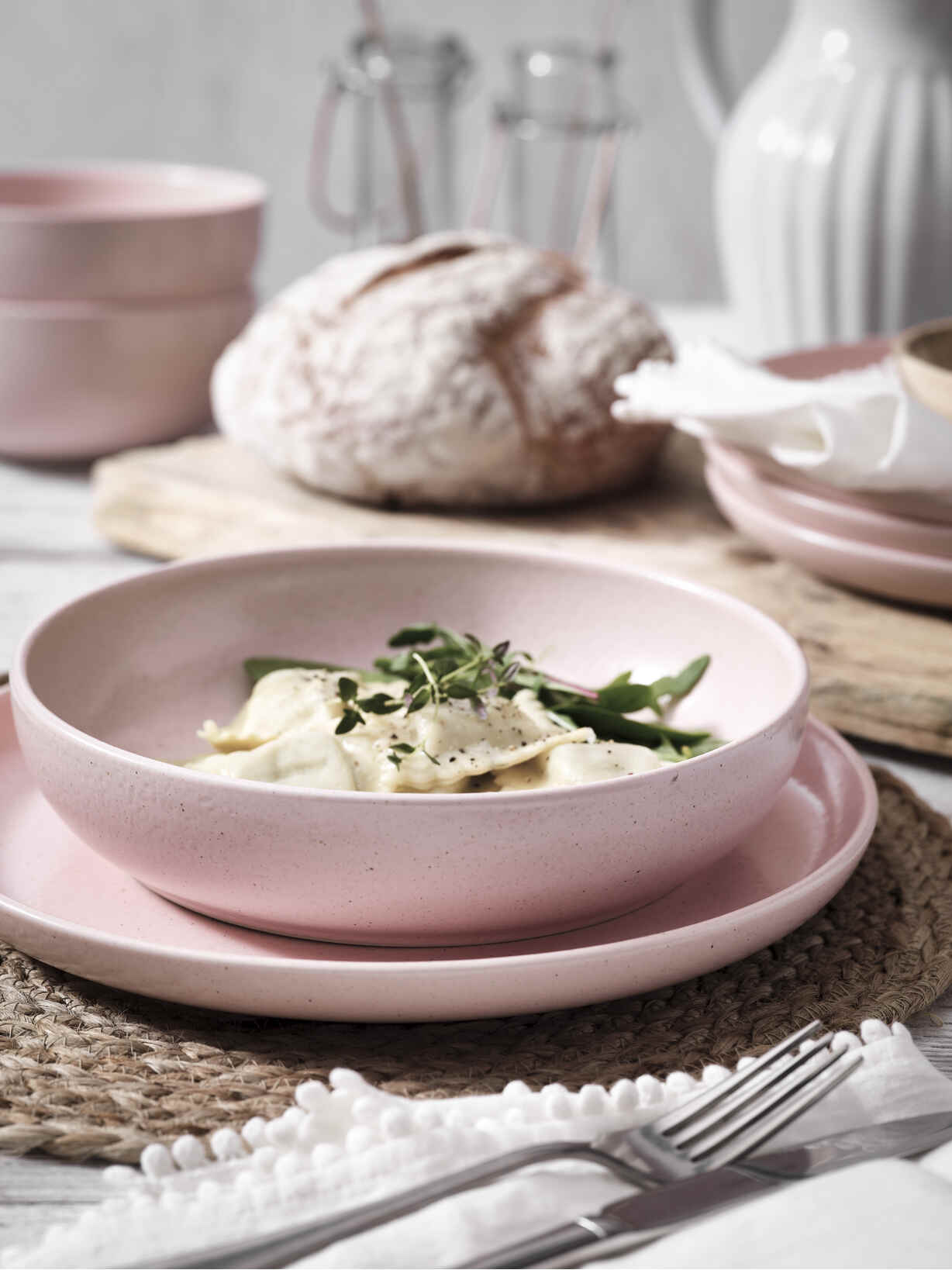 Nordic House Blossom Pink Pasta Bowl