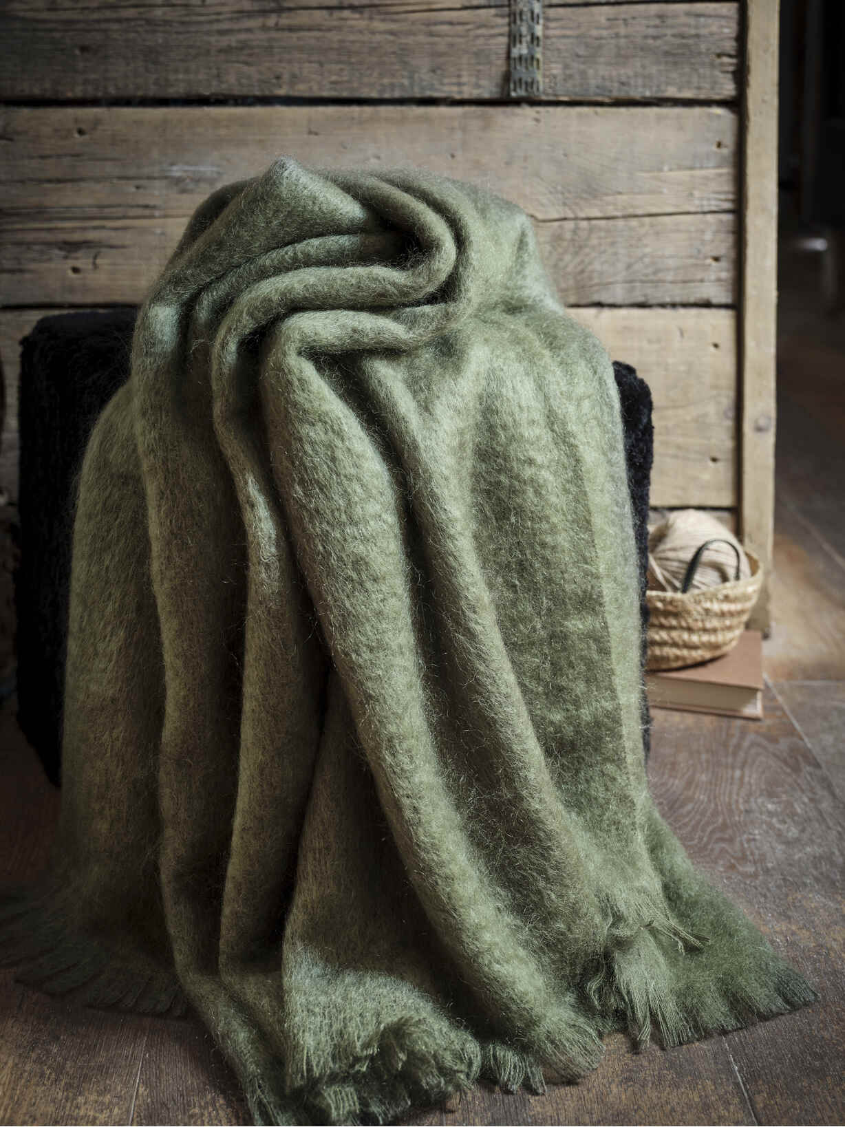 Nordic House Supersoft Moss Green Mohair Throw