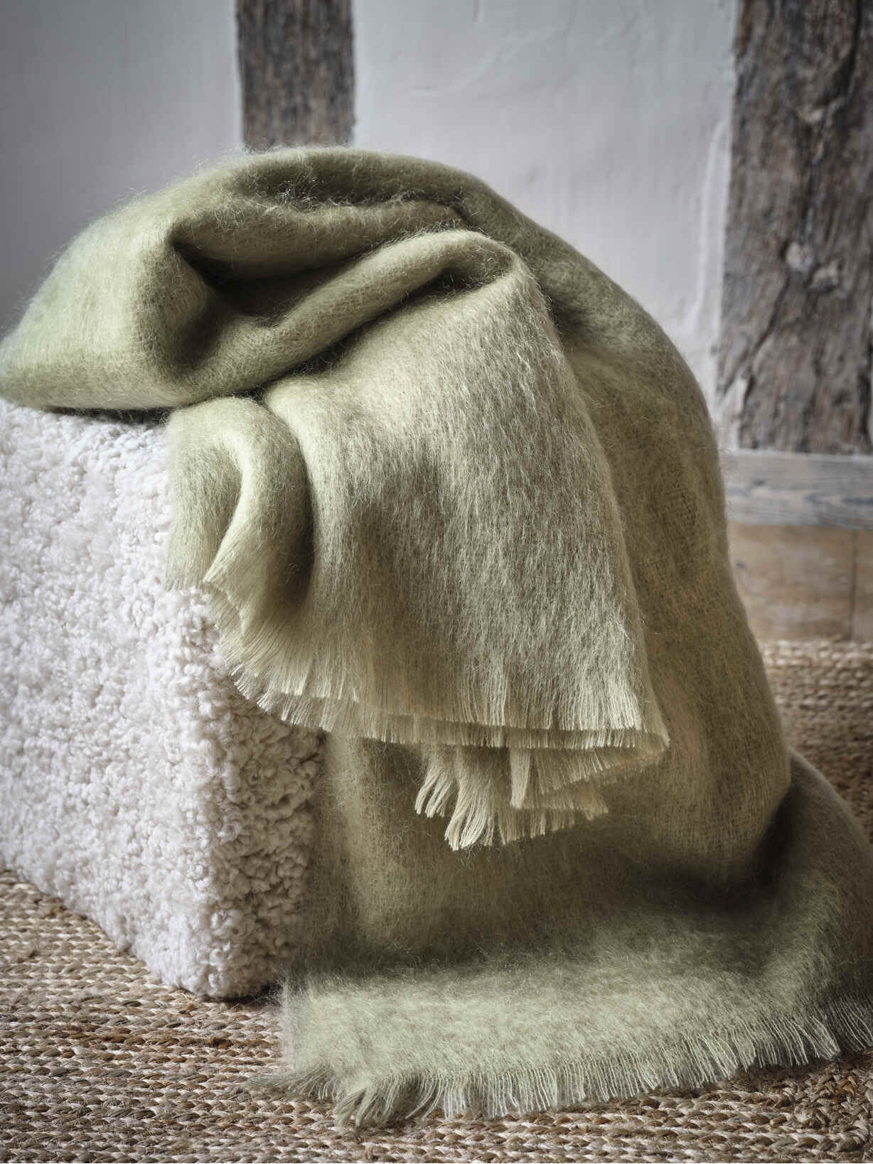 Nordic House Supersoft Sage Green Mohair Throw