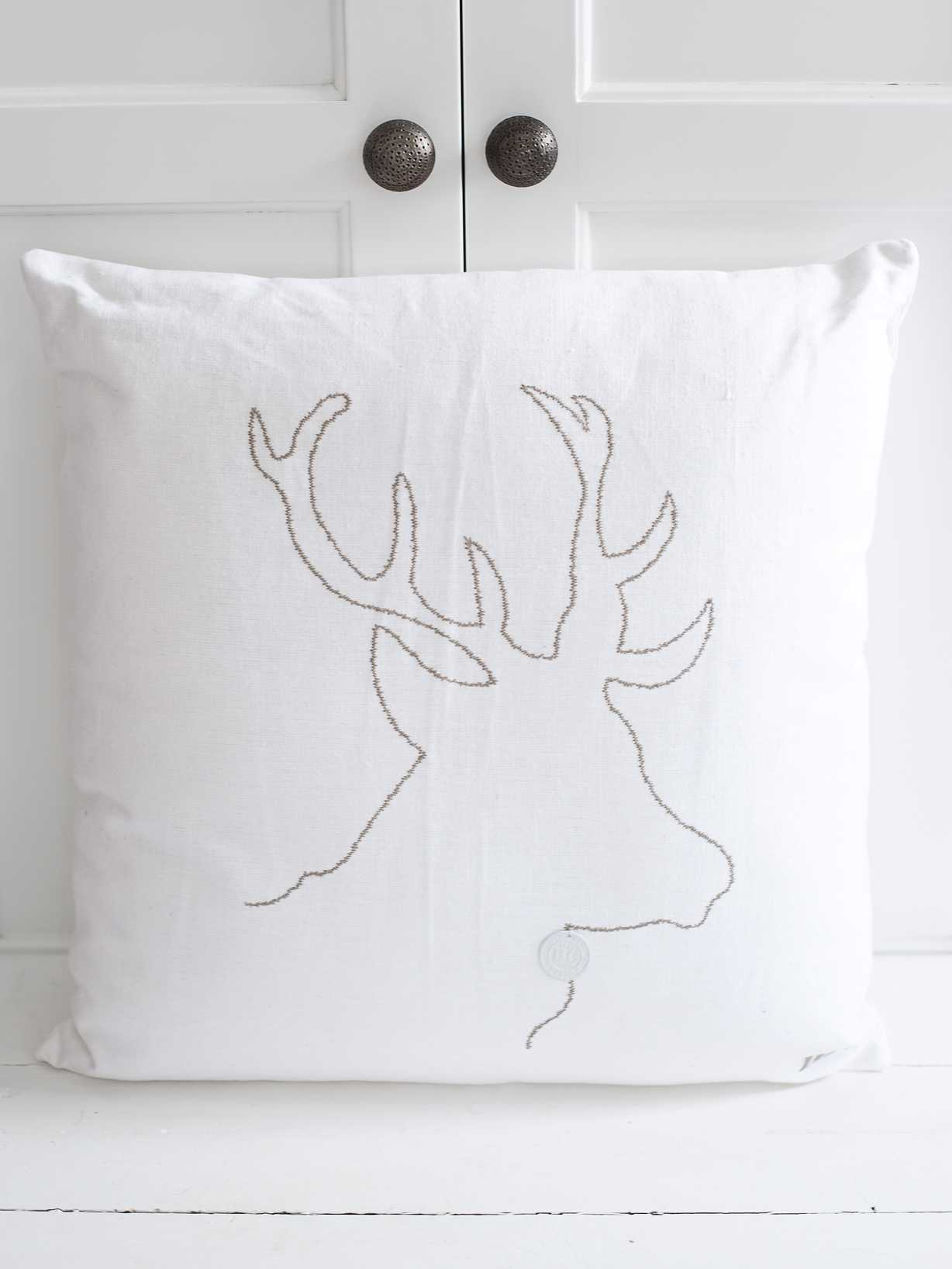 Nordic House Reindeer Silhouette Cushion - White