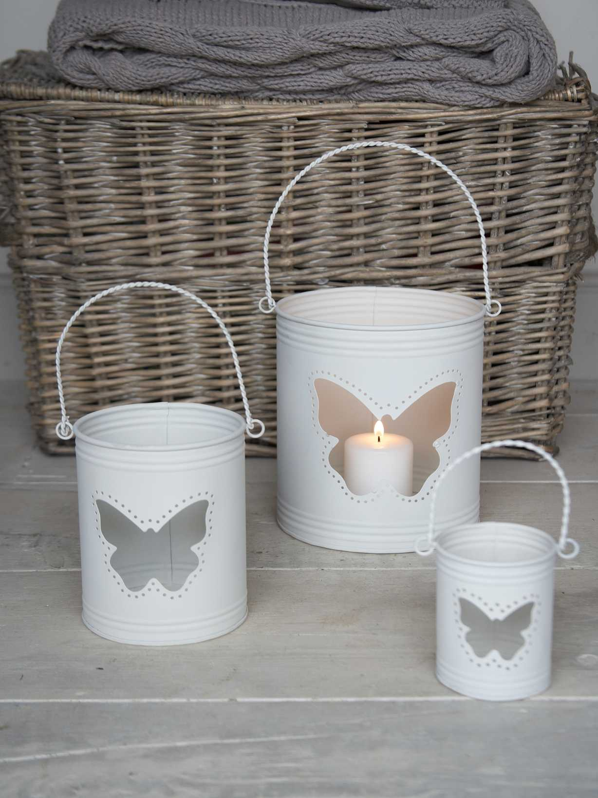 Nordic House Butterfly Hurricane Lanterns