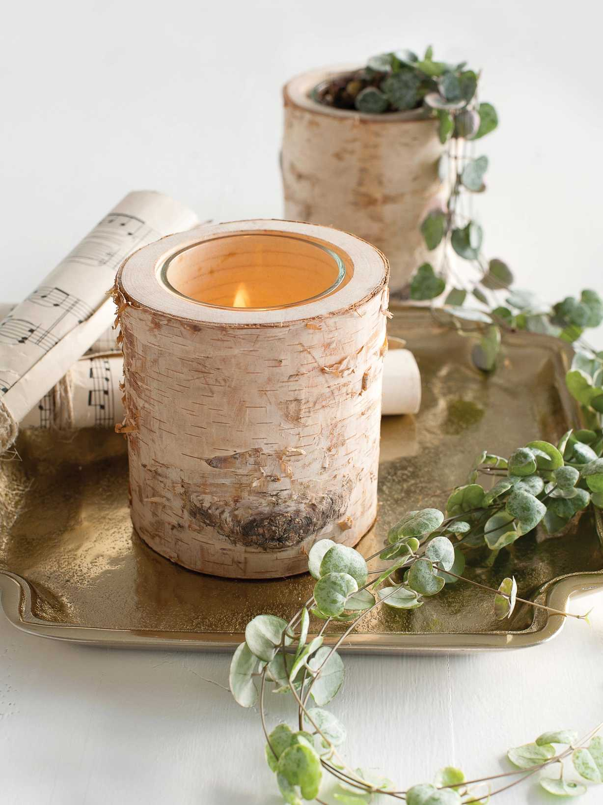 Nordic House Birch Bark Tealight Holder