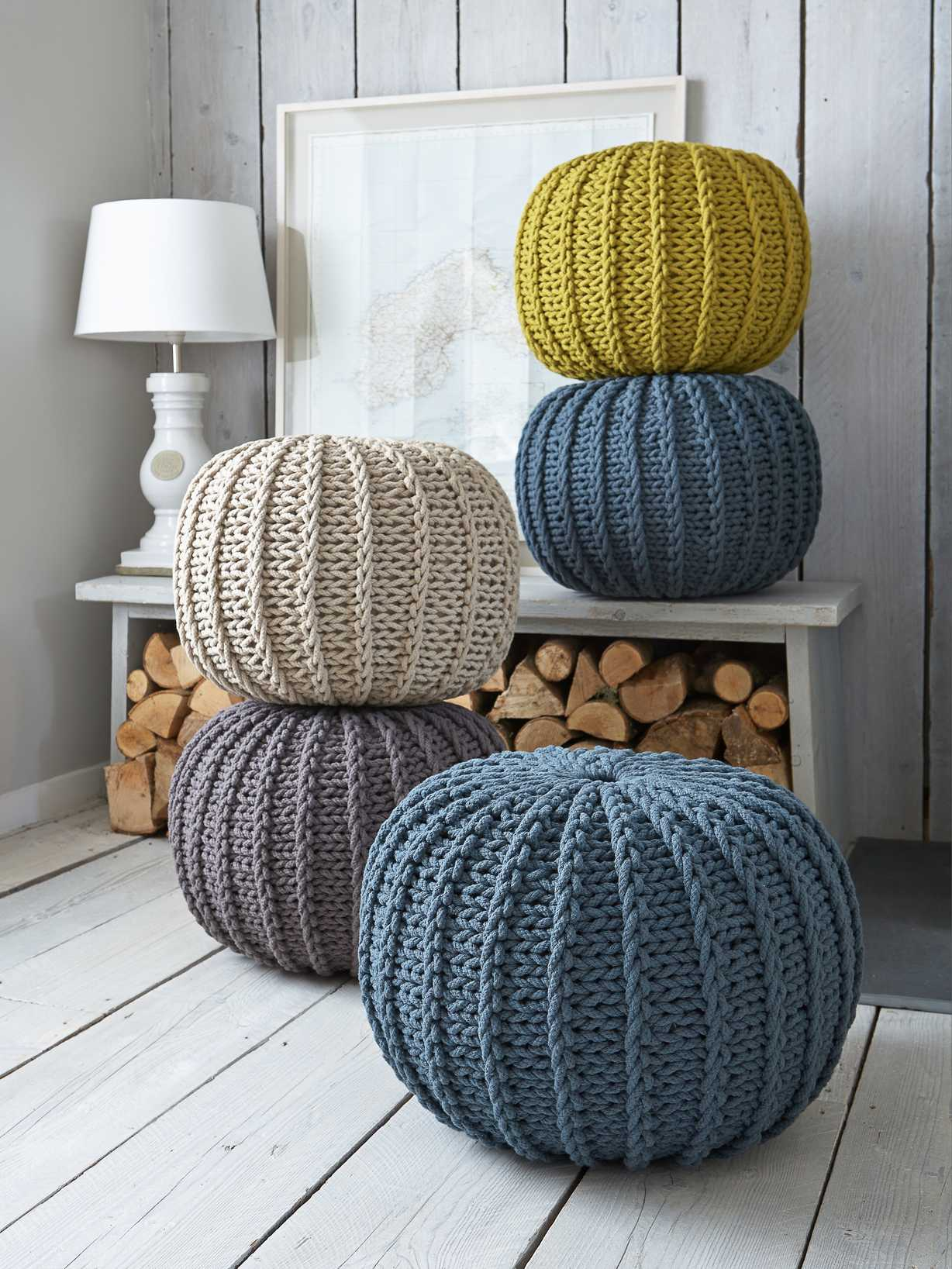 Nordic House Knitted Poufs