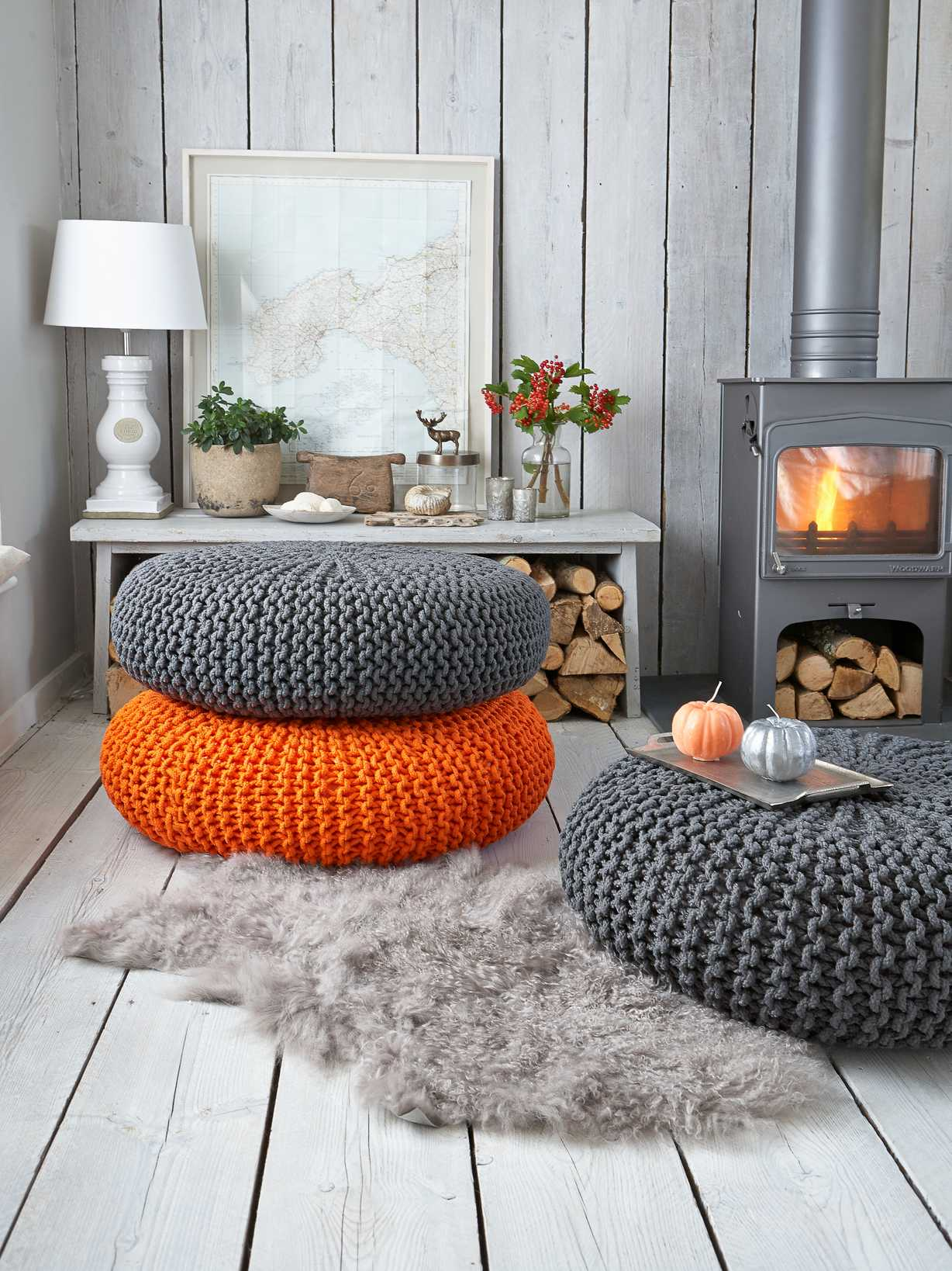 Nordic House Large Knitted Pouf