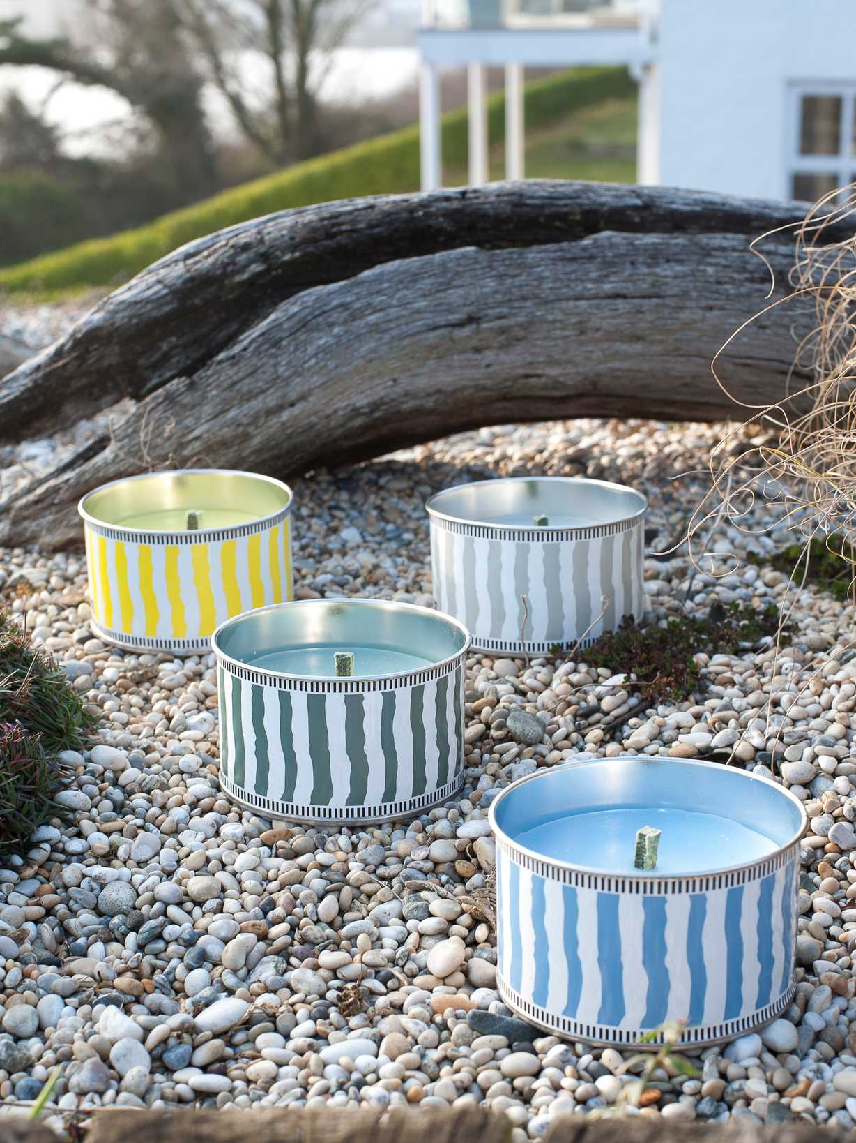Nordic House Striped Citronella Candle Cans