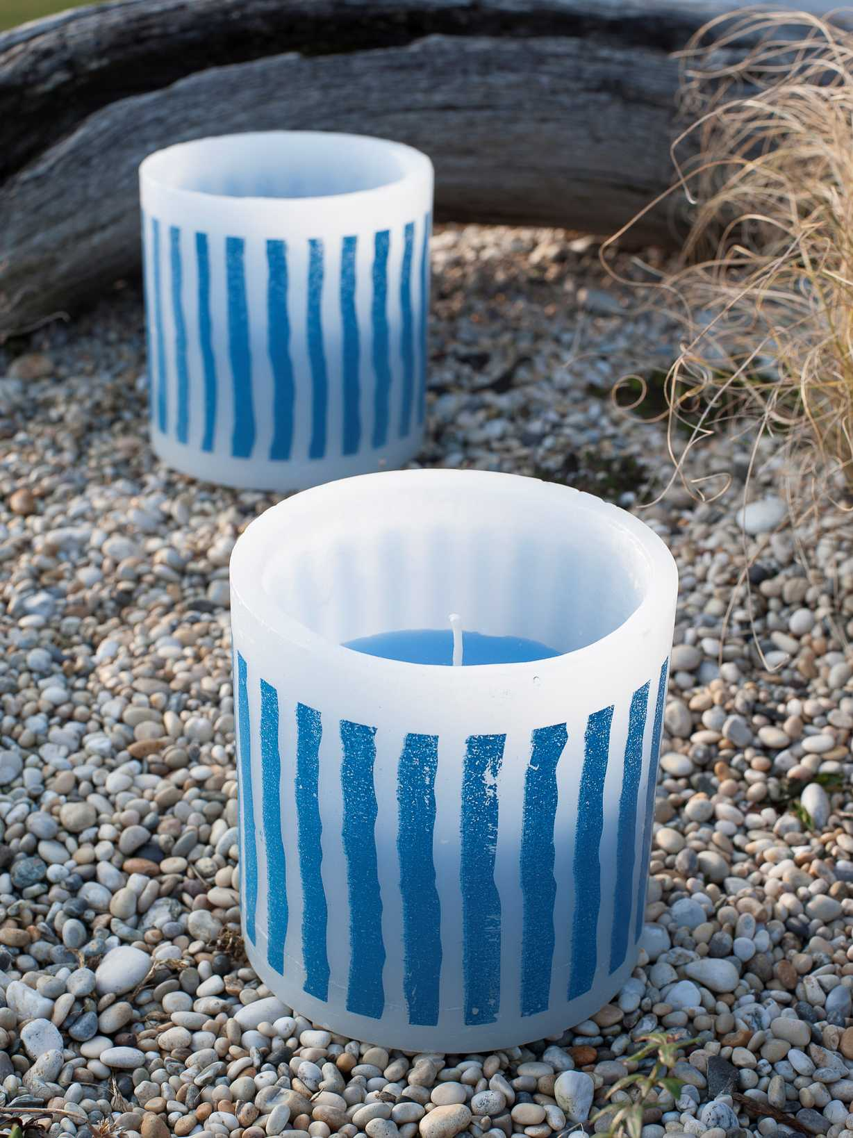 Nordic House Striped Outdoor Candle - Nordic Blue