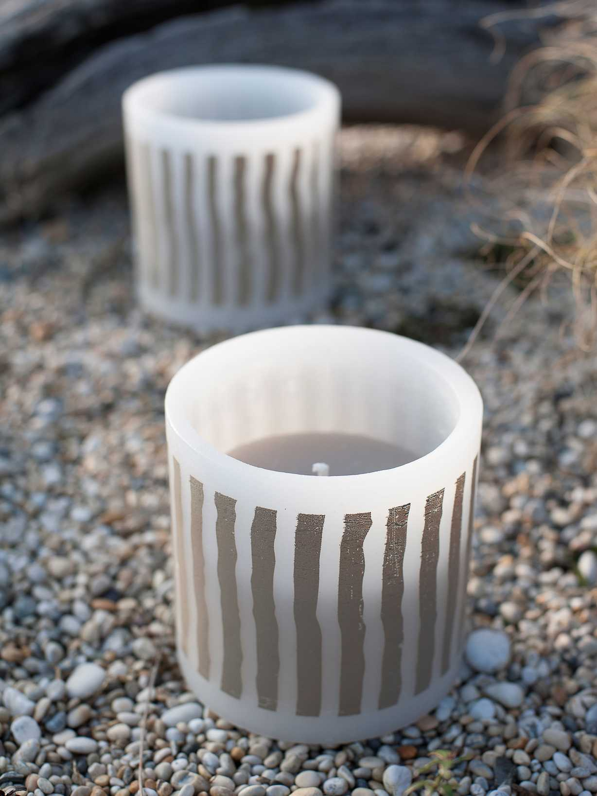 Nordic House Striped Outdoor Candle - Natural