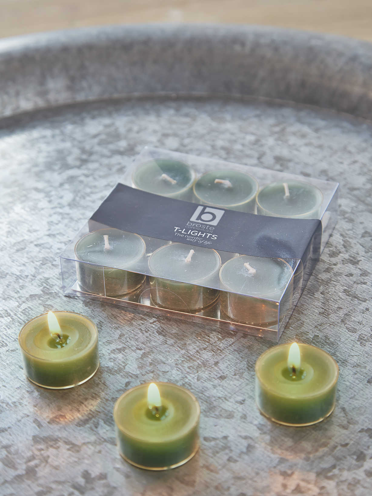 Nordic House Sea Green Clear Cup Tealights
