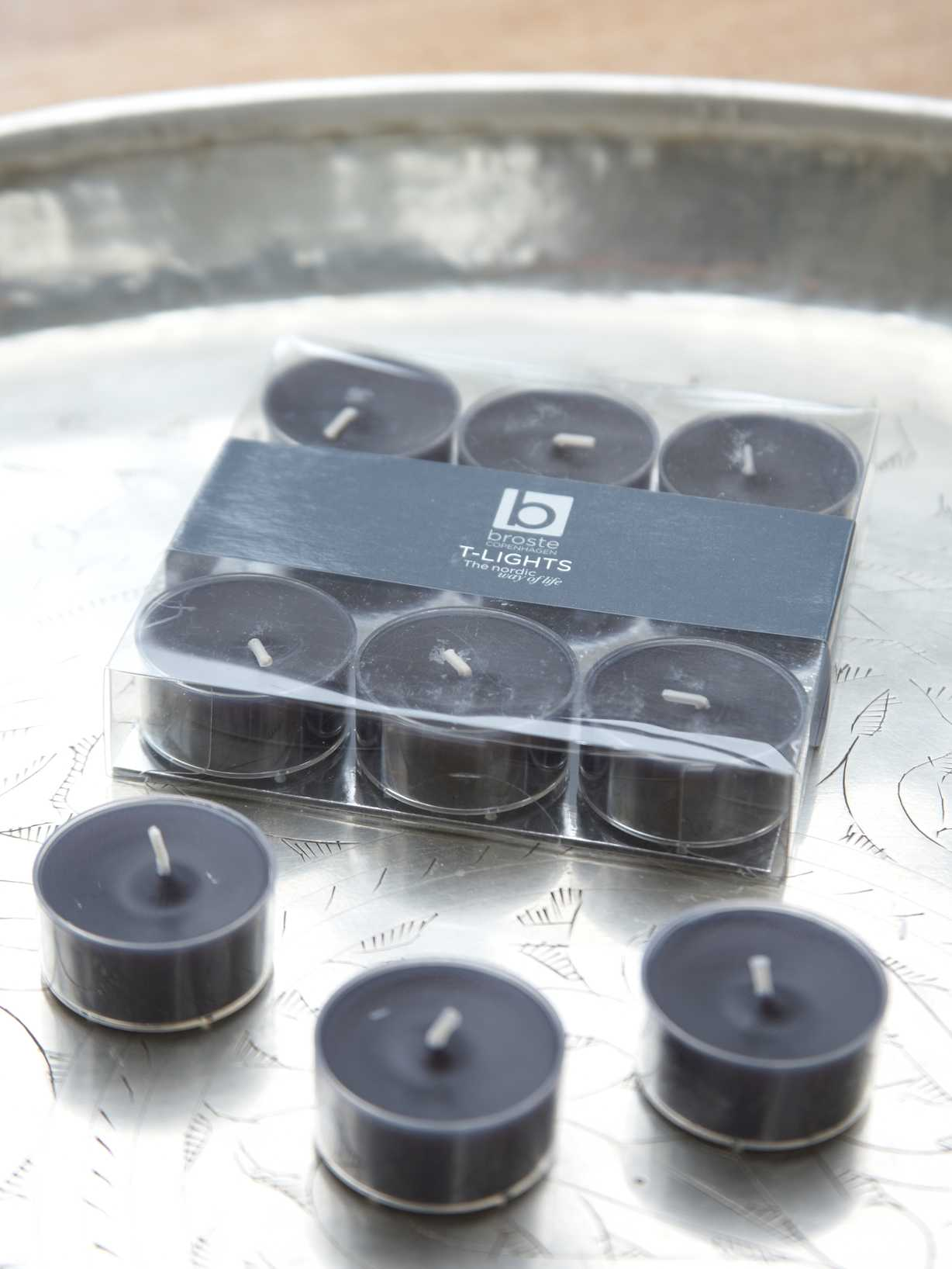 Nordic House Black Clear Cup Tealights