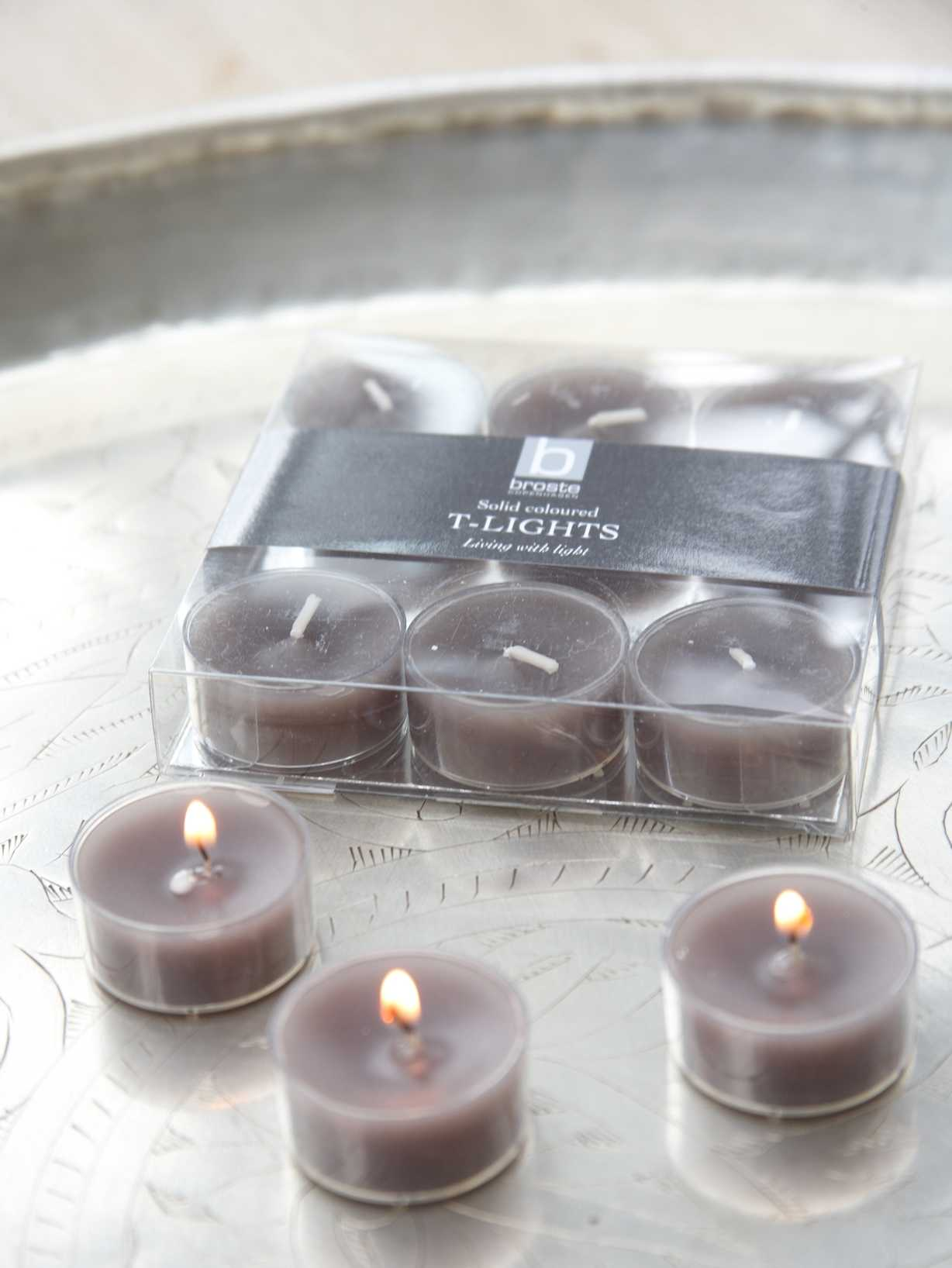 Nordic House Dark Linen Clear Cup Tealights