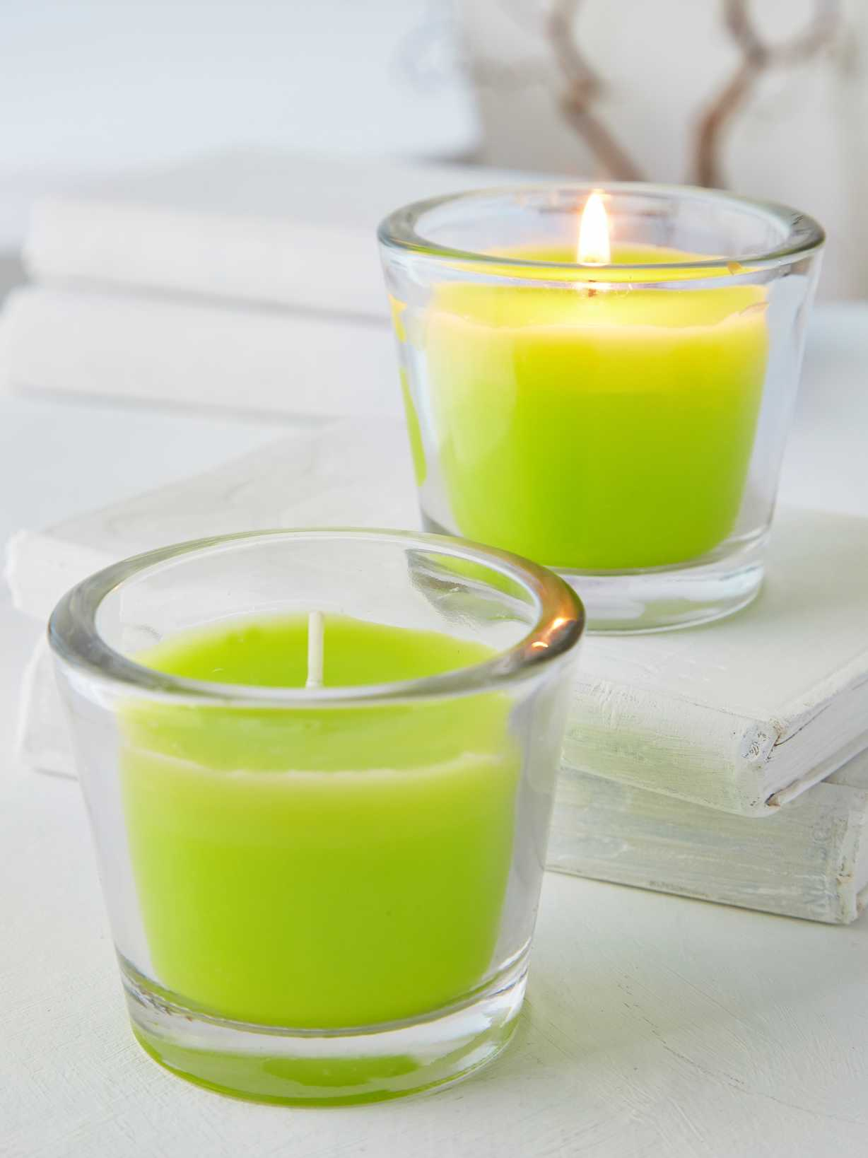 Nordic House Lime Green Glass Candle Votive