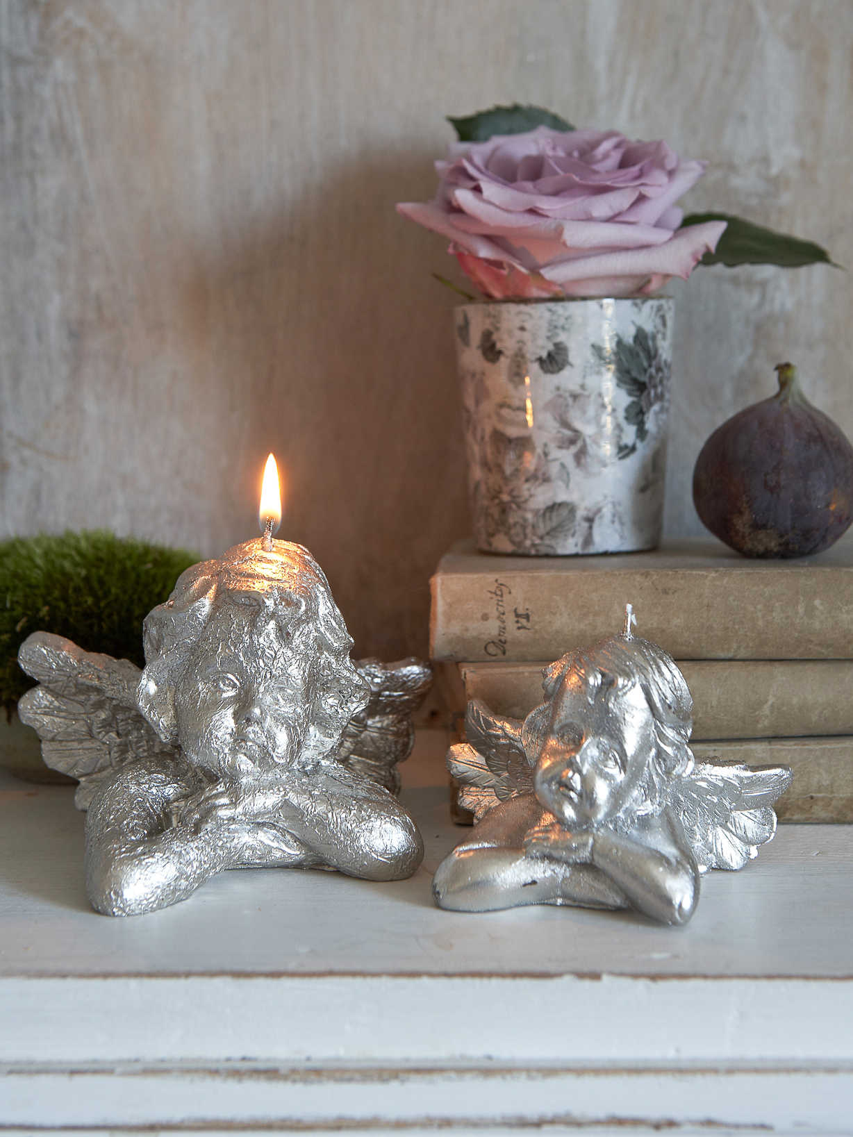 Nordic House Vintage Silver Cherub Candle