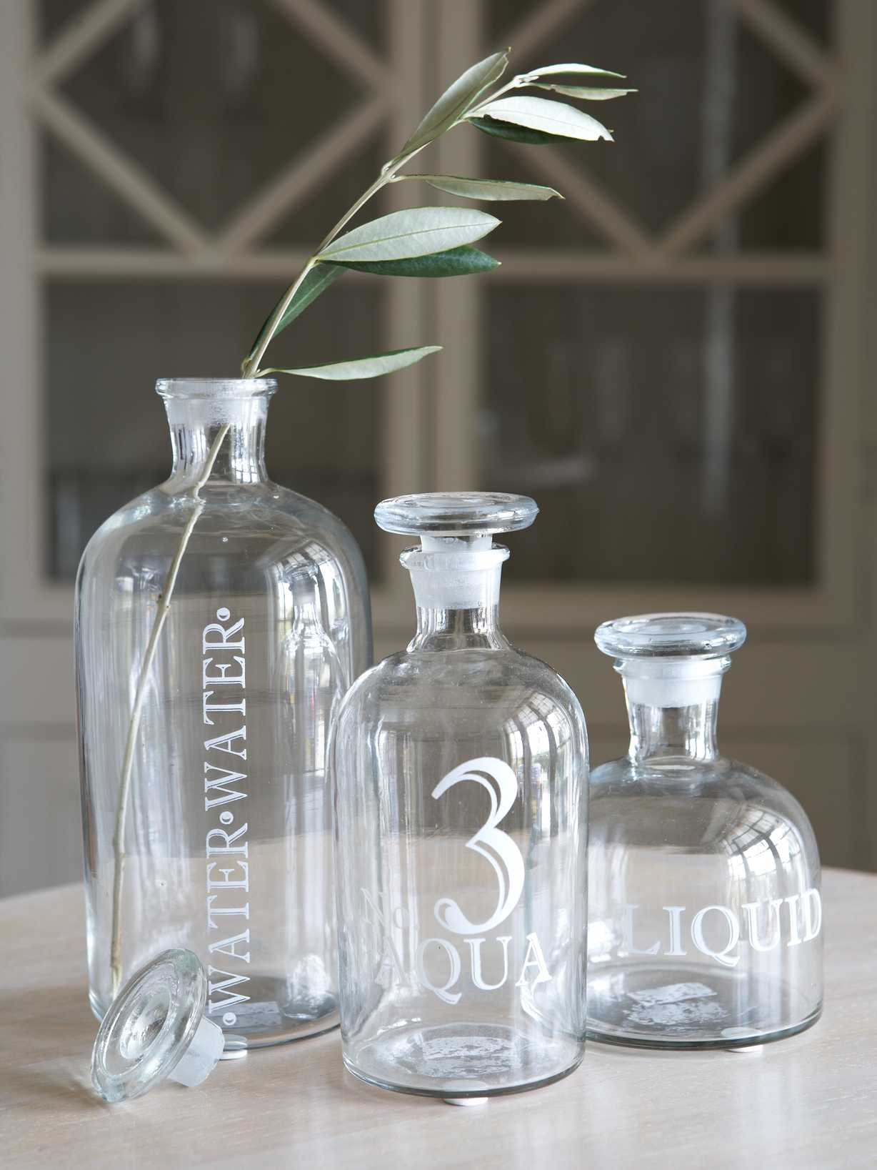 Nordic House Retro Glass Display Bottles - White Print