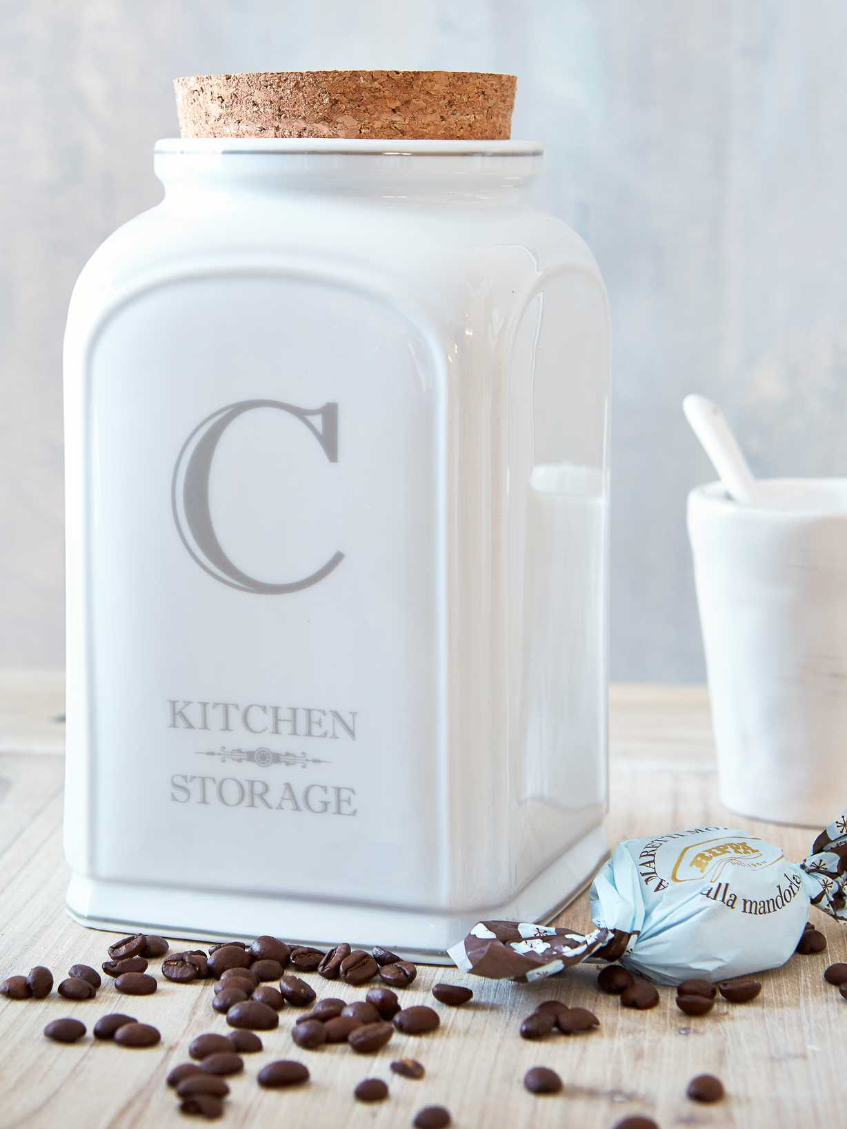 Nordic House White Ceramic Coffee Jar