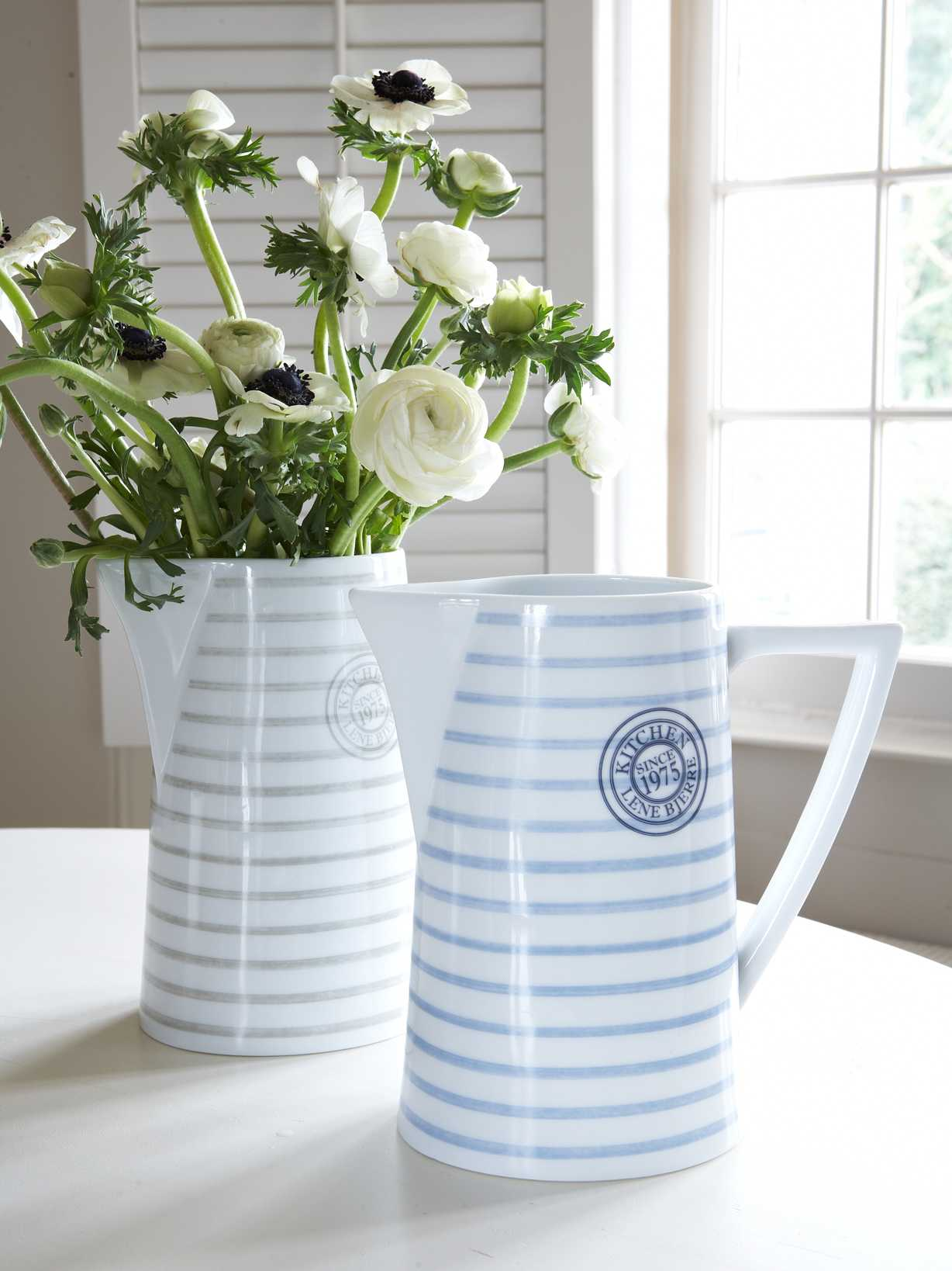 Nordic House Striped Ceramic Pitcher