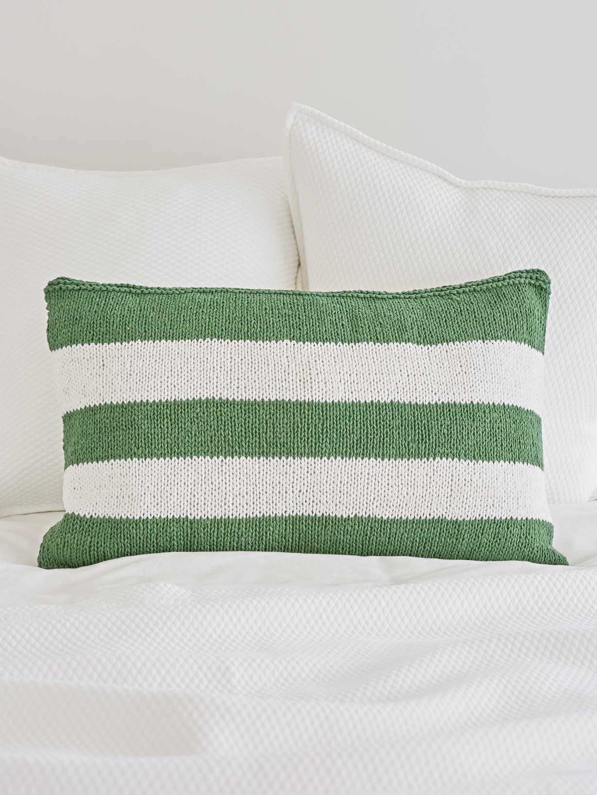 Nordic House Knitted Green Cushion - Broad Stripe