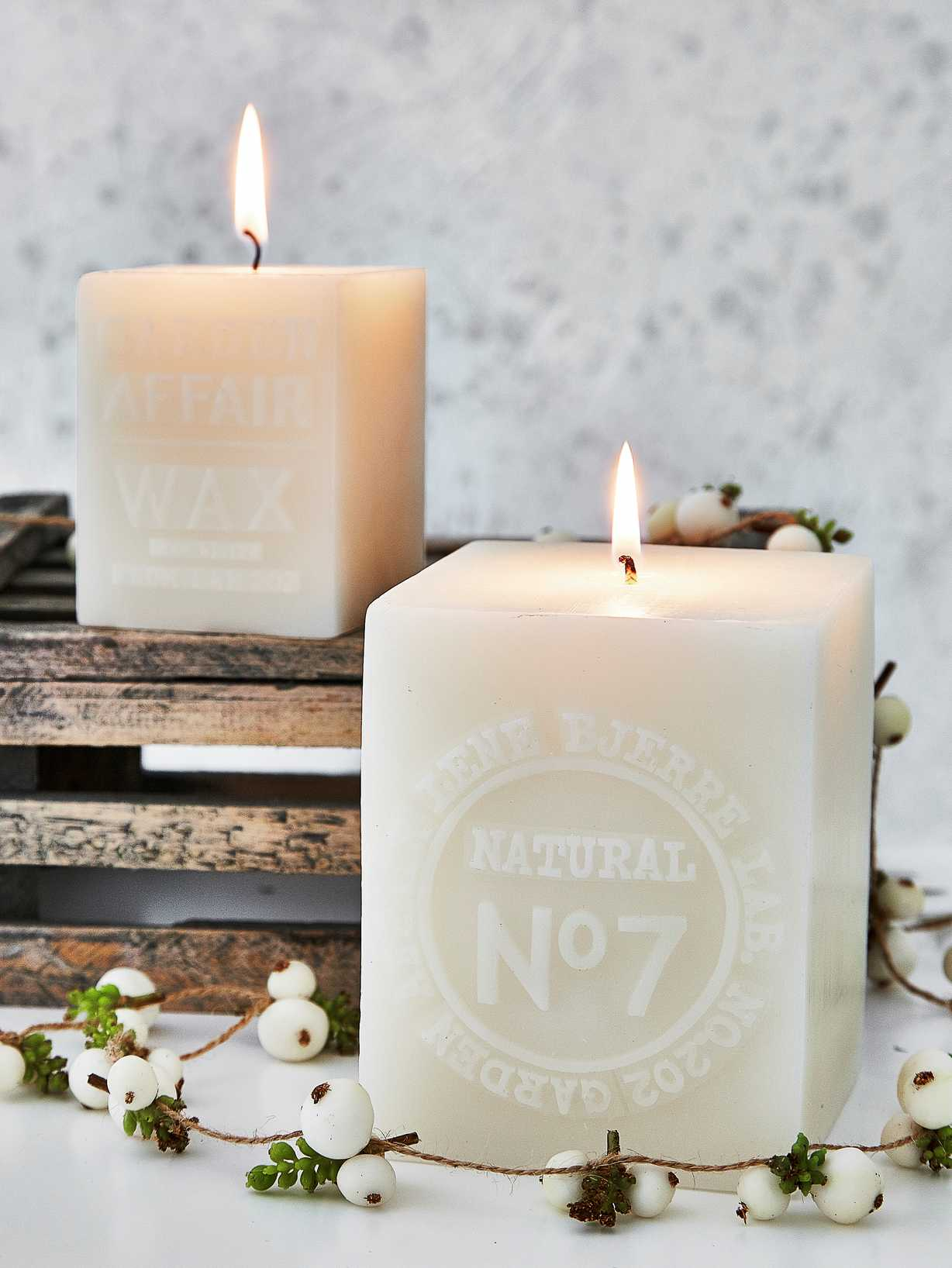 Nordic House Square Embossed Candles