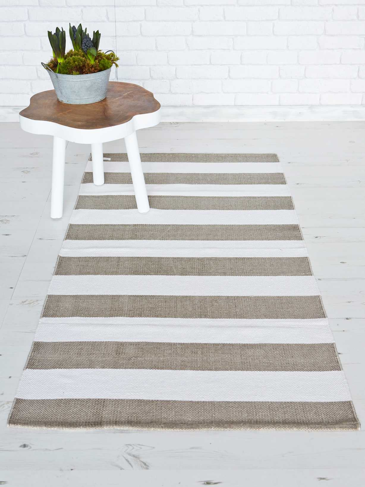 Nordic House Natural & White Striped Rug